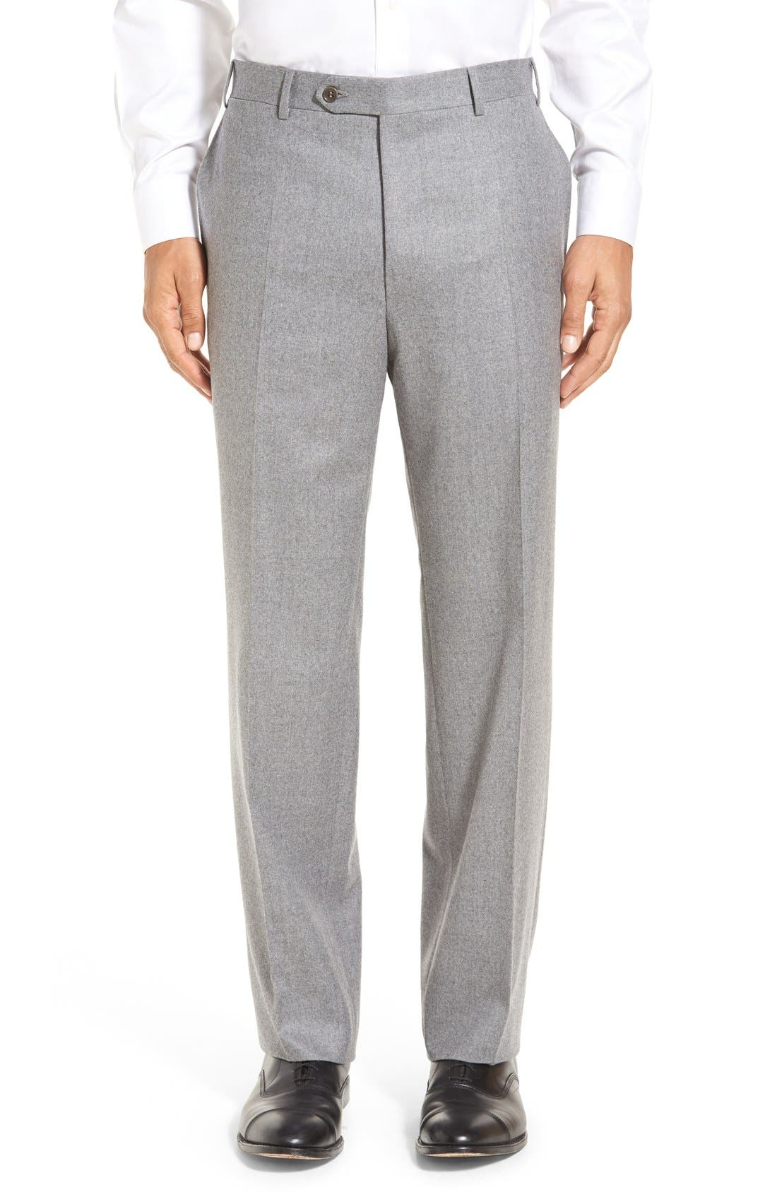 Flat Front Solid Wool Trousers,                         Main,                         color, Light Grey
