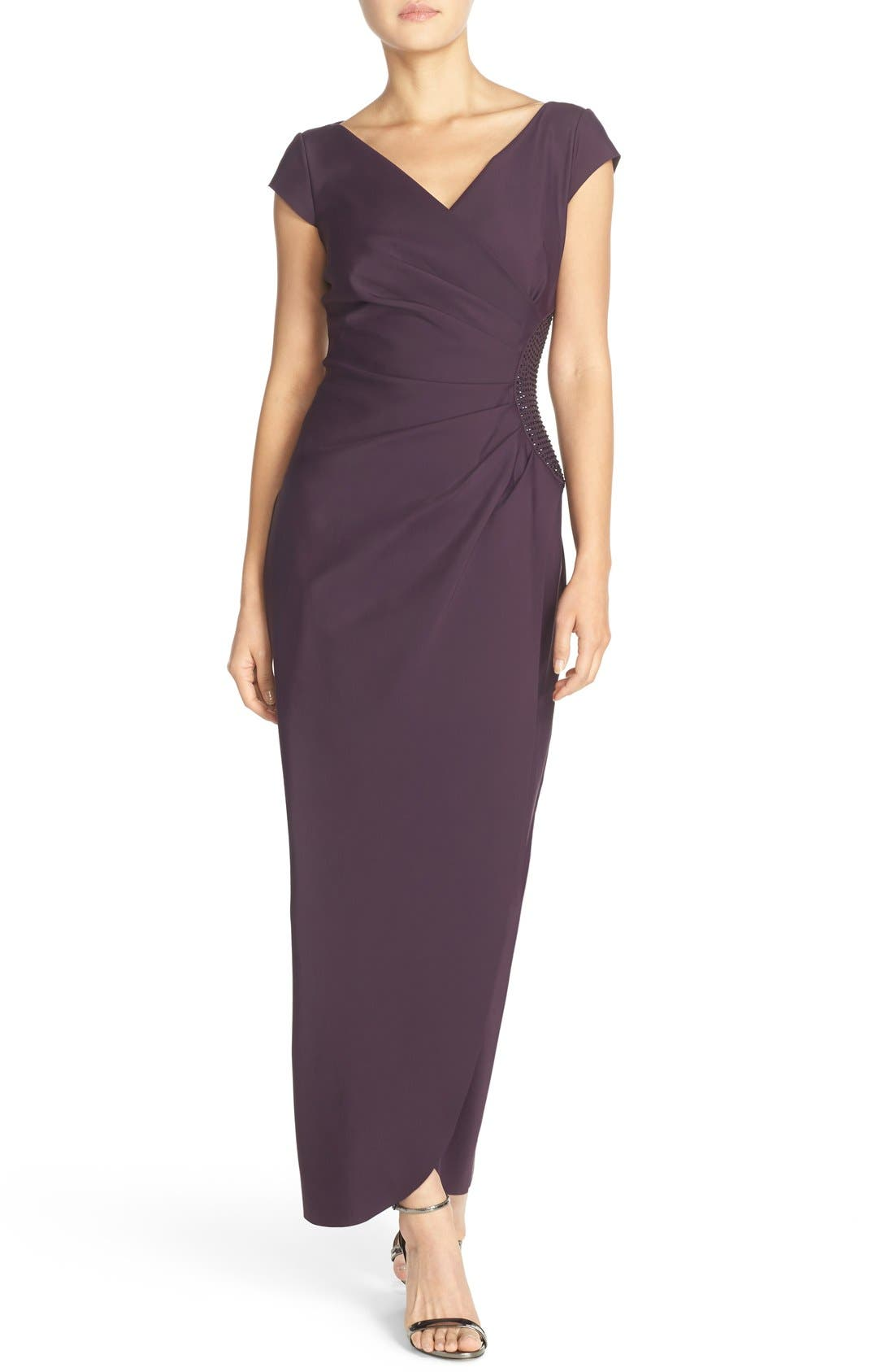 Embellished Jersey Column Gown,                         Main,                         color, Aubergine