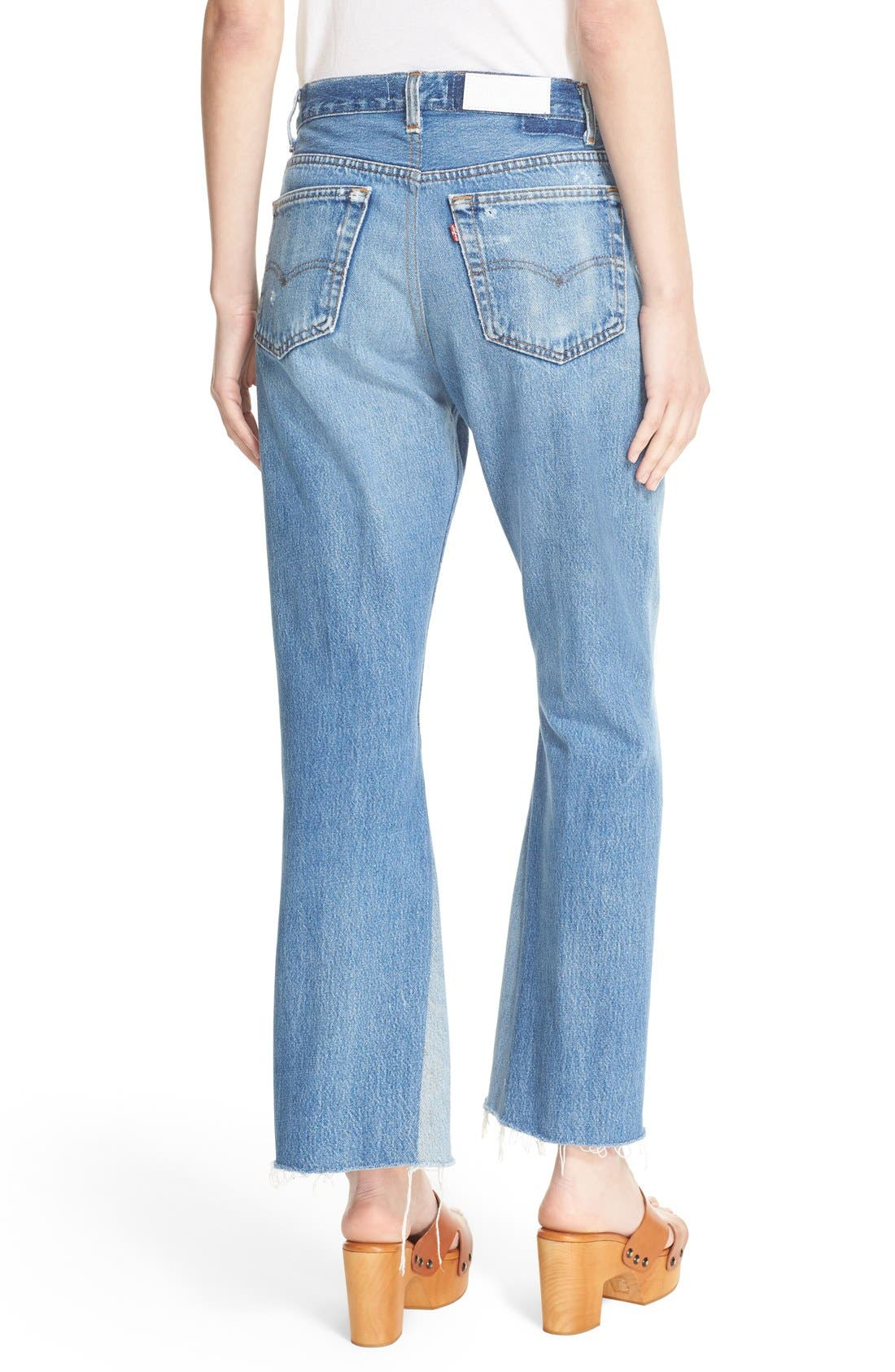 Alternate Image 2  - Re/Done The Leandra Reconstructed High Waist Crop Flare Jeans