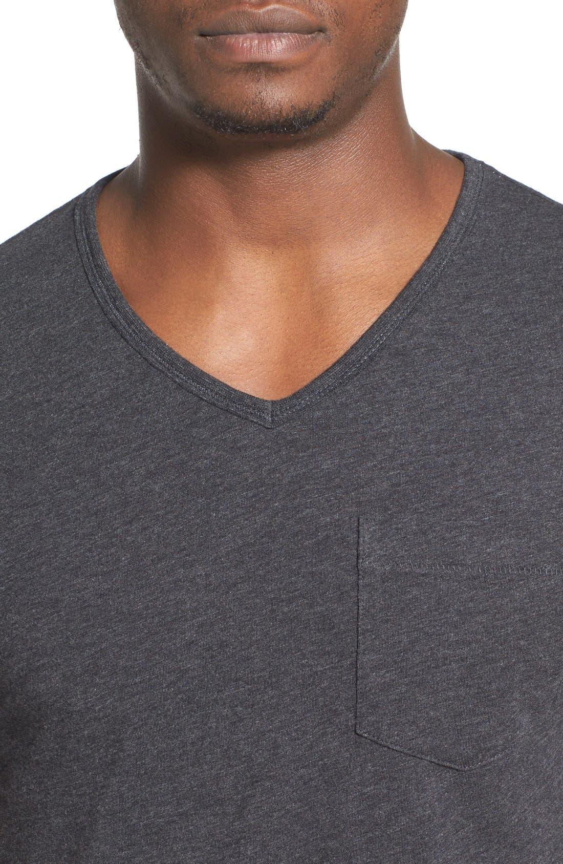 'Bing' V-Neck Pocket T-Shirt,                             Alternate thumbnail 4, color,                             Dark Charcoal Heather