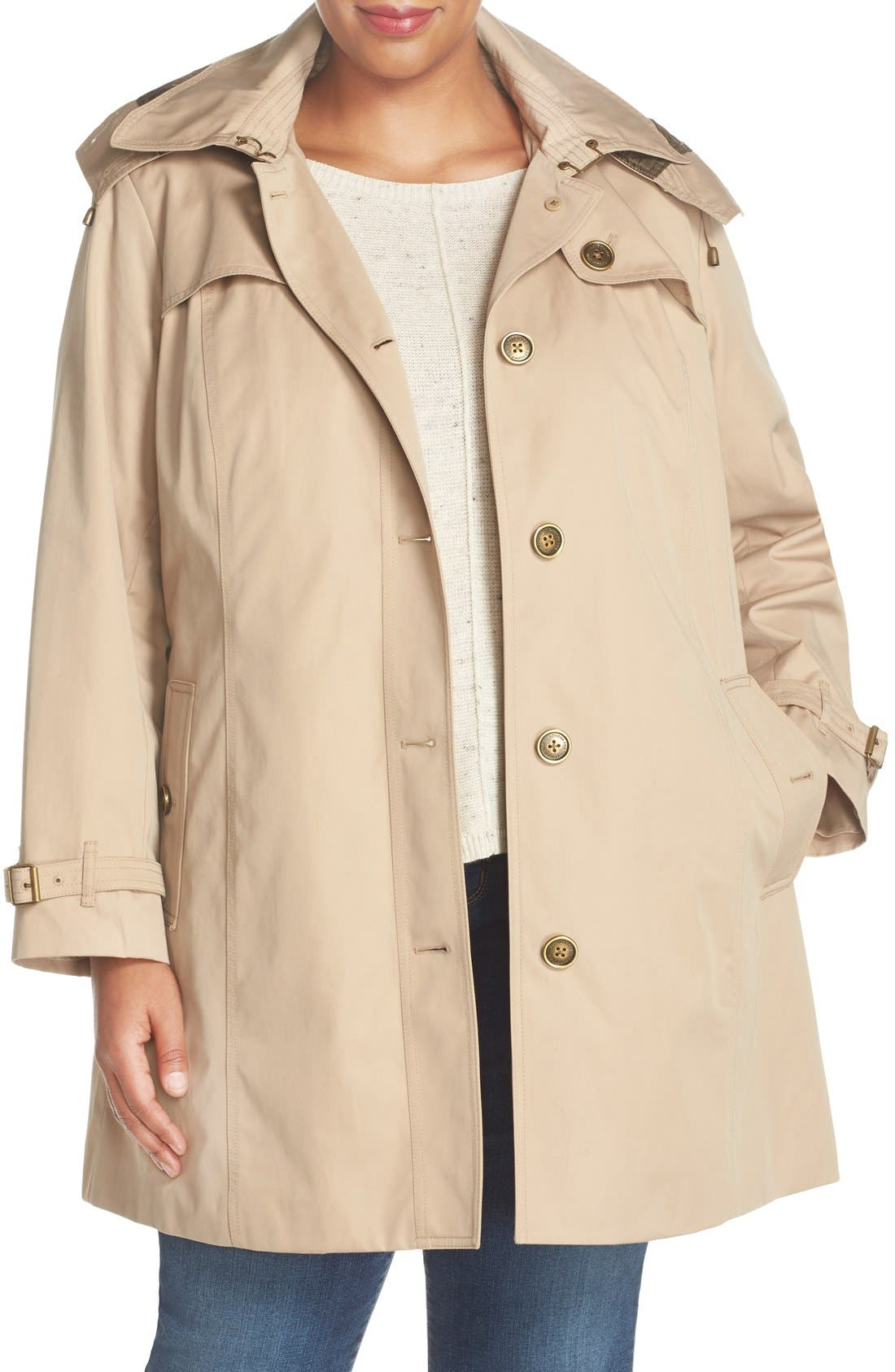 London Fog Single Breasted Trench Coat (Plus Size)