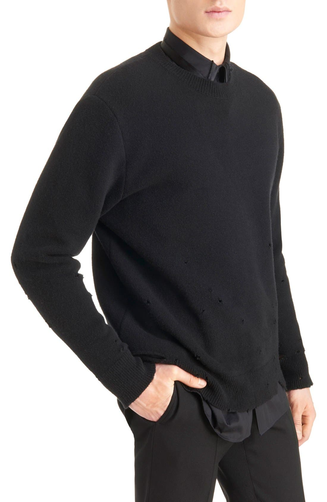 Destroyed Wool Sweater,                             Alternate thumbnail 4, color,                             Black