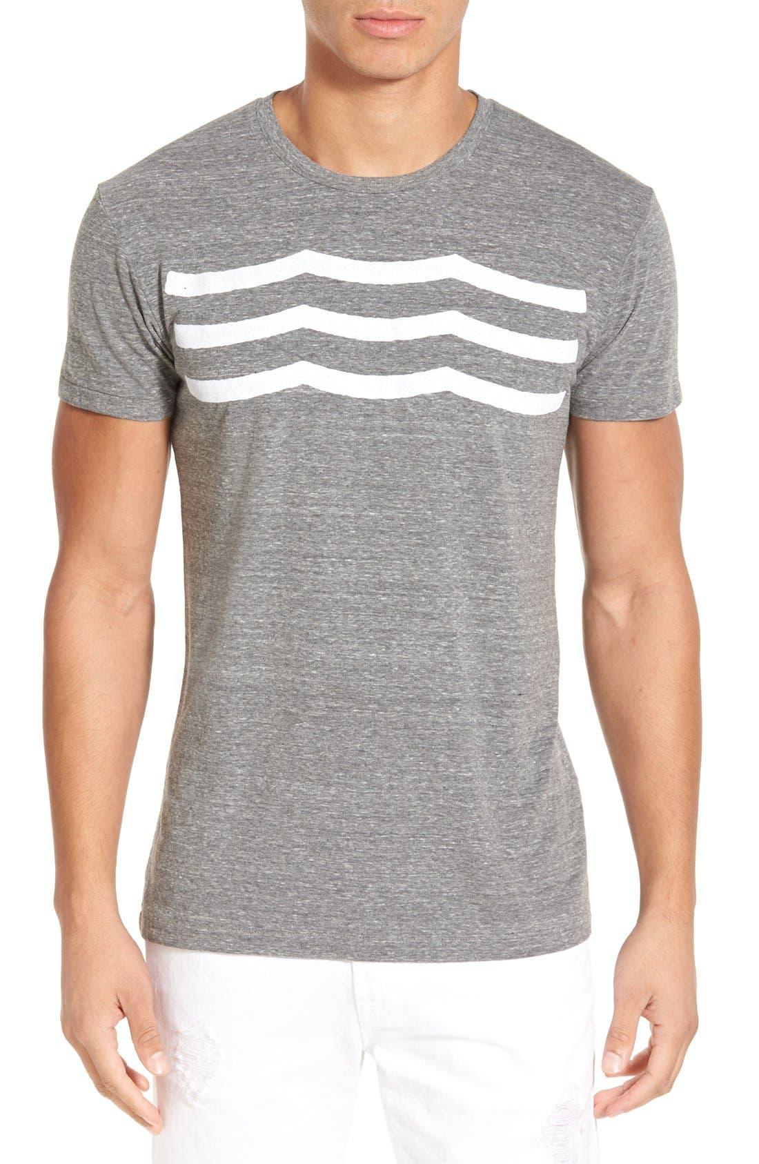 'Waves' Graphic T-Shirt,                             Main thumbnail 1, color,                             Heather Grey