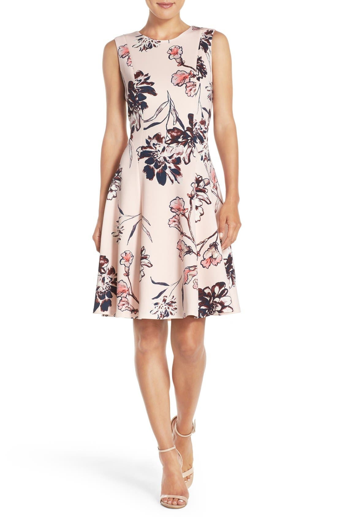 Main Image - Ivanka Trump Floral Print Scuba Fit & Flare Dress