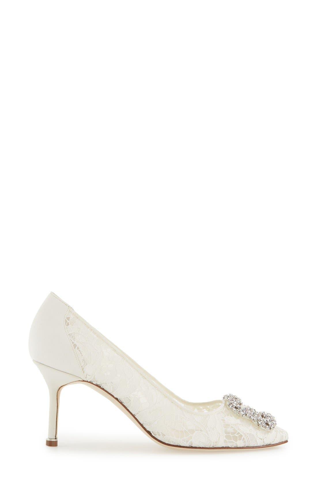 Alternate Image 4  - Manolo Blahnik 'Hangisi' Pointy Toe Lace Pump (Women)