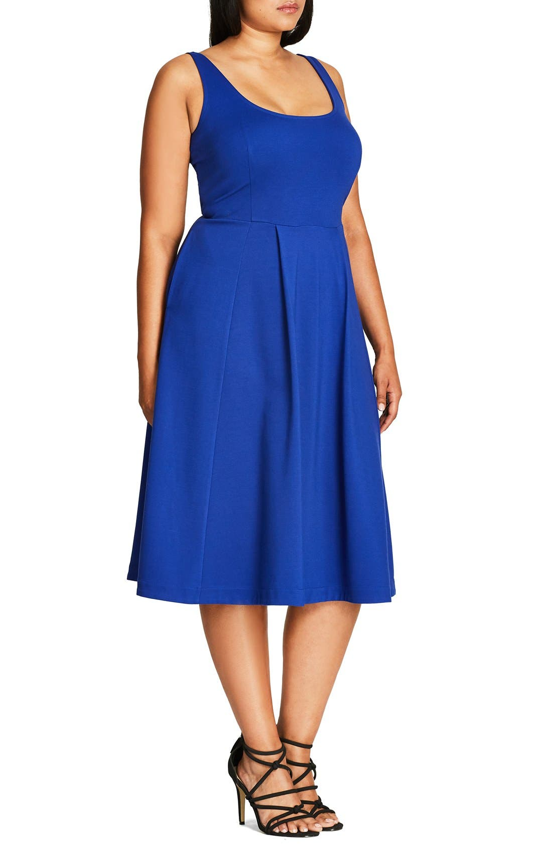 Classic Longline Scoop Neck Midi Dress,                             Alternate thumbnail 3, color,                             French Blue