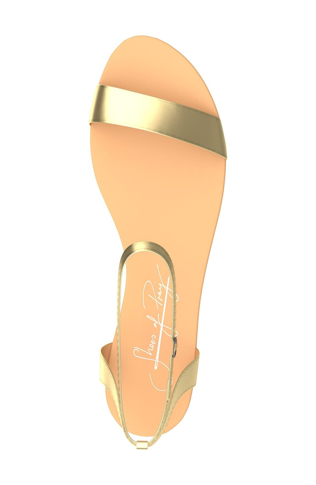Metallic Ankle Strap Sandal,                             Alternate thumbnail 3, color,                             Gold Leather
