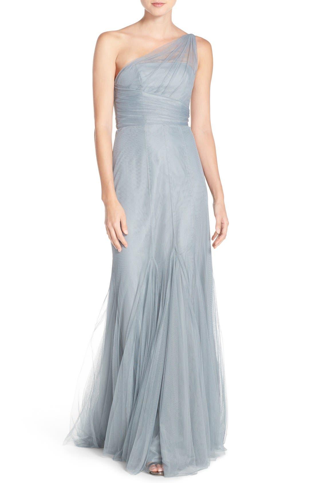 Alternate Image 1 Selected - Monique Lhuillier Bridesmaids One-Shoulder Tulle Trumpet Gown