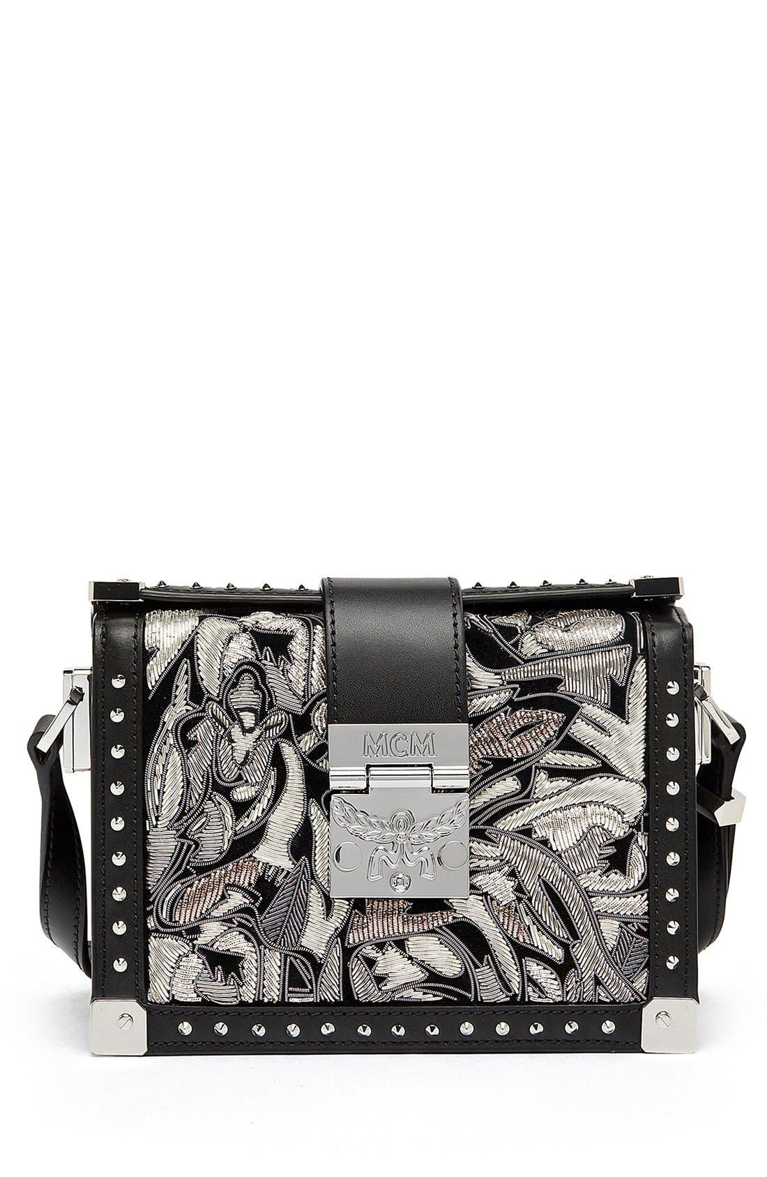 Alternate Image 1 Selected - MCM 'Mini Mitte - Brocade' Embellished Leather Crossbody Bag