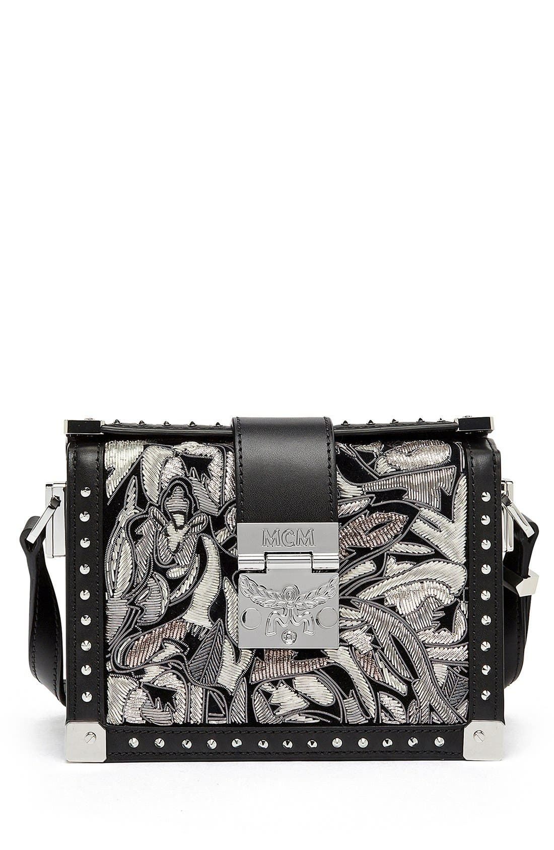 Main Image - MCM 'Mini Mitte - Brocade' Embellished Leather Crossbody Bag