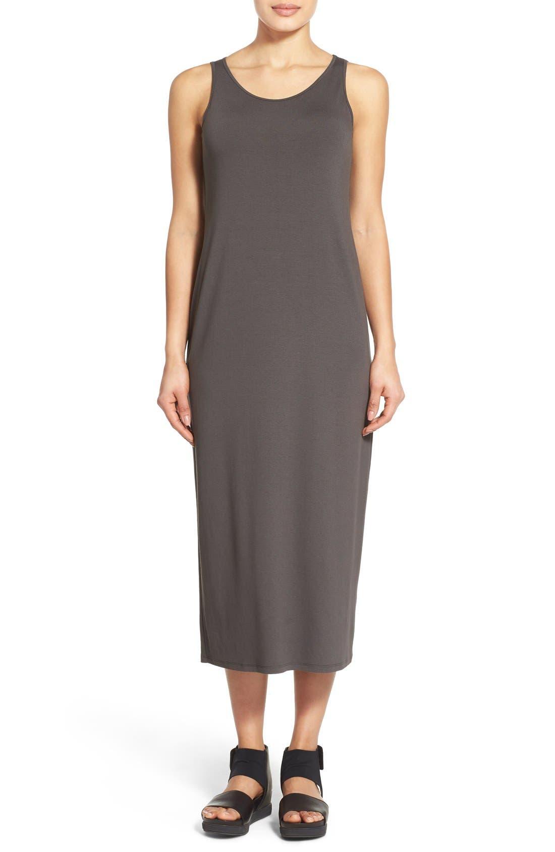 Main Image - Eileen Fisher Scoop Neck Jersey Midi Dress (Regular & Petite)