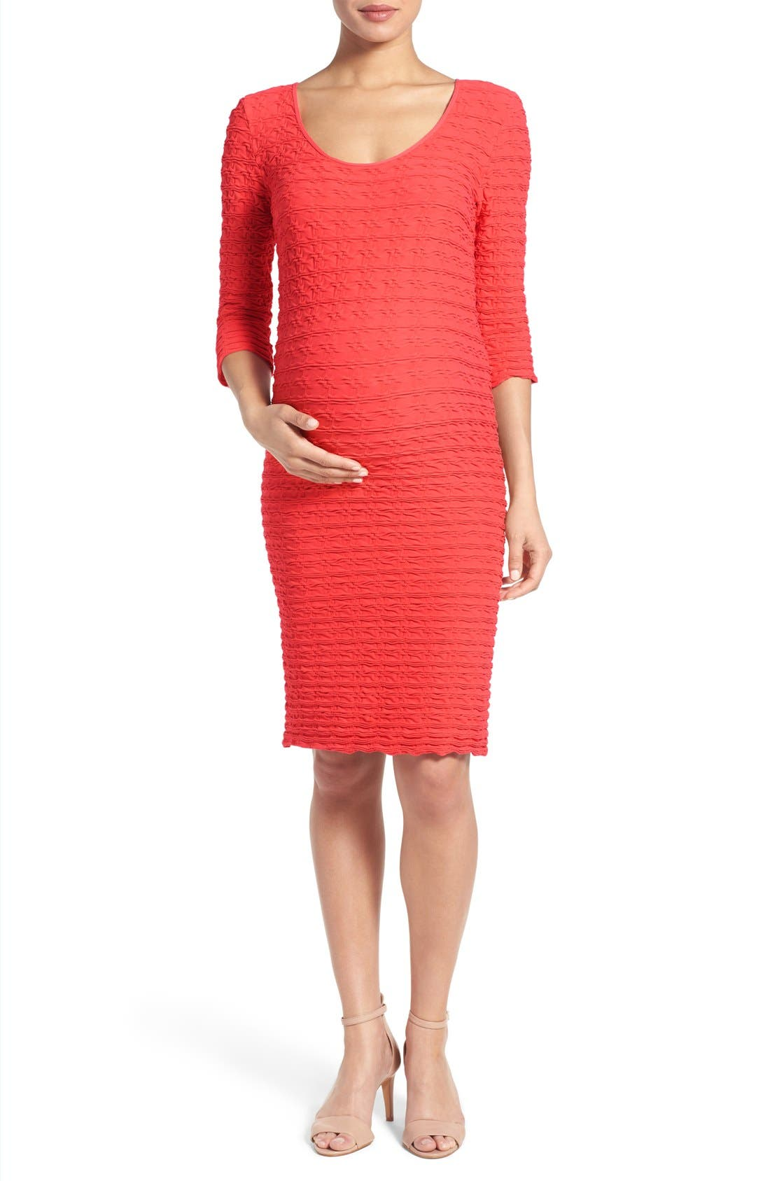 Crinkle Maternity Sheath Dress,                         Main,                         color, Coral
