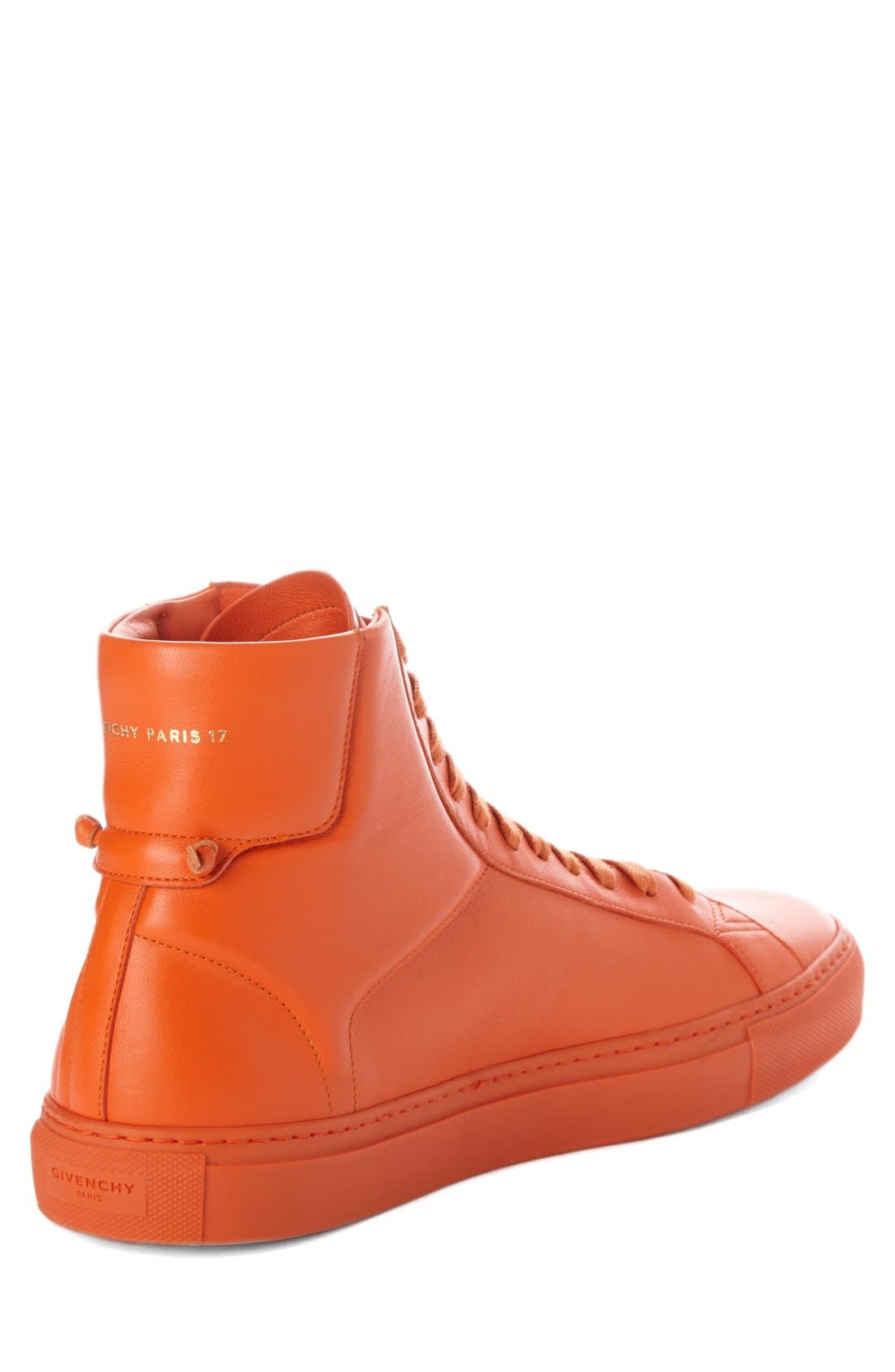 'Urban Knots' High Top Sneaker,                             Alternate thumbnail 3, color,                             Orange Leather