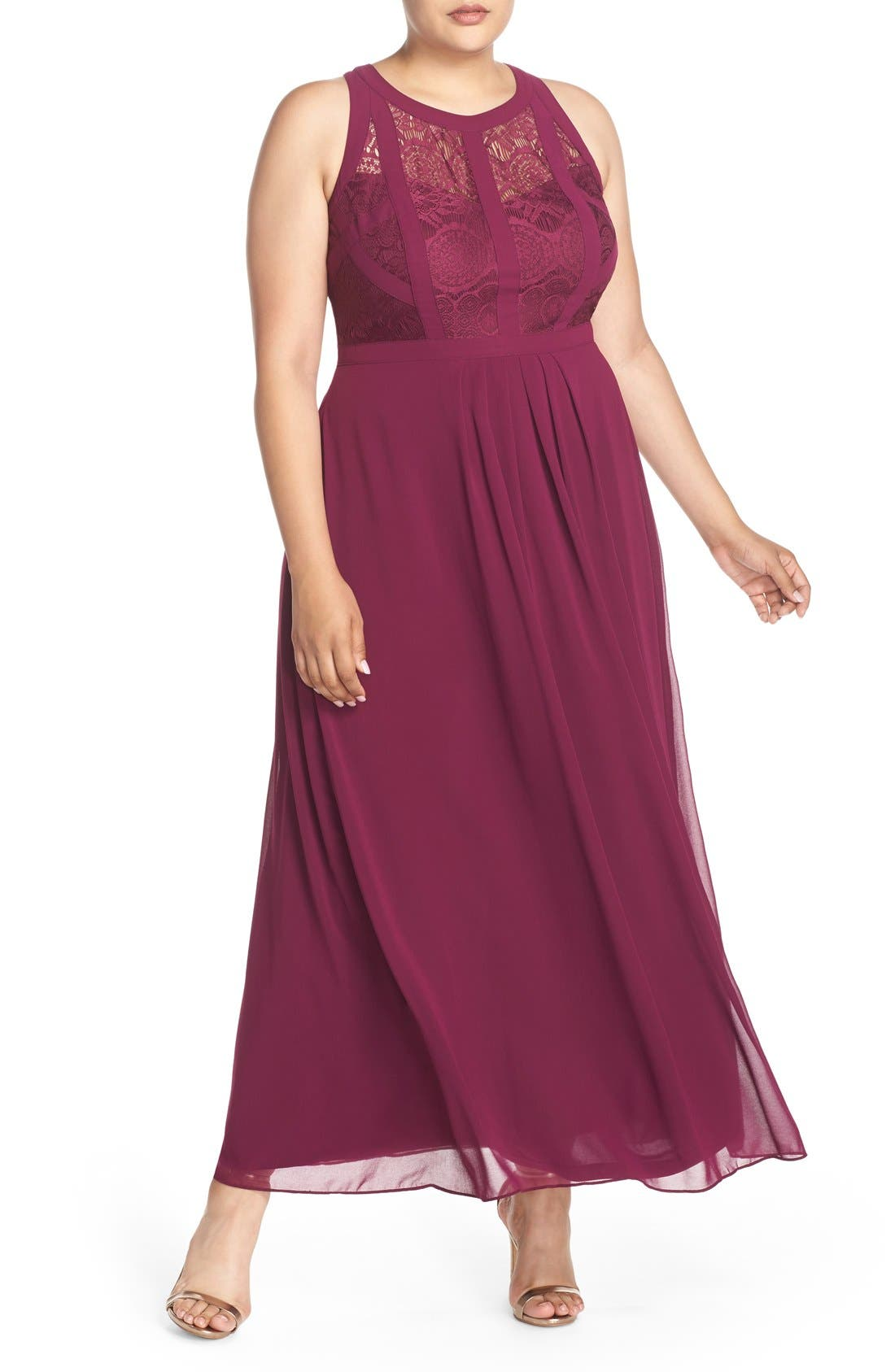 Paneled Lace Bodice Gown,                         Main,                         color, Mulberry