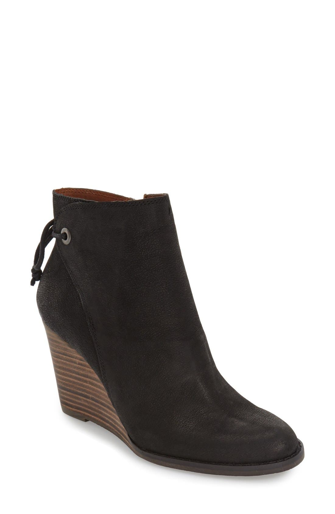 Alternate Image 1 Selected - Lucky Brand 'Yamina' Wedge Zip Bootie (Women)