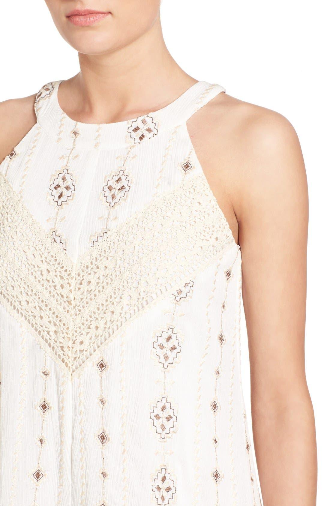 Alternate Image 4  - Roxberi Elle Crochet Inset Embroidered Shift Dress
