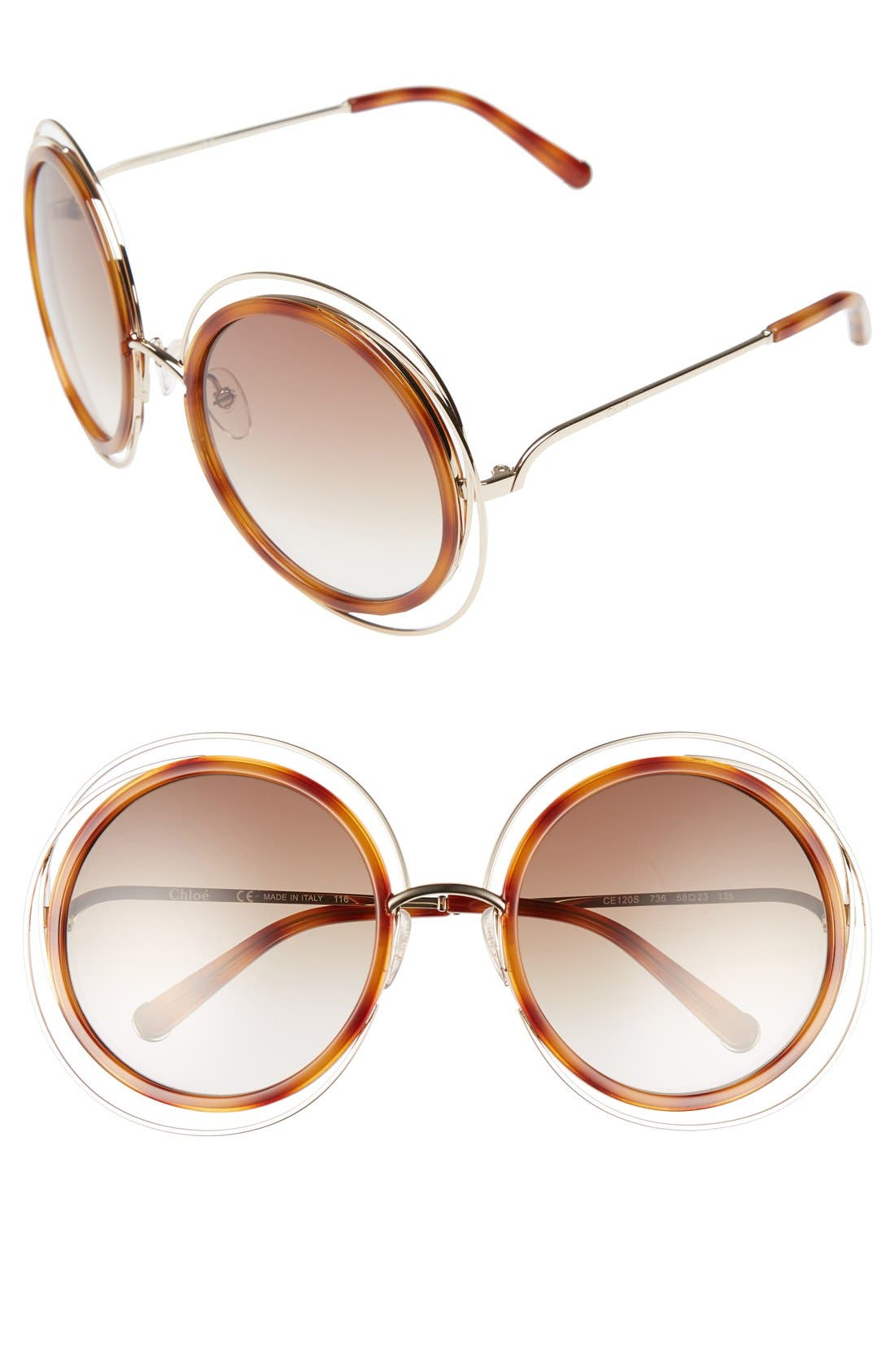 'Carlina' 58mm Round Sunglasses,                         Main,                         color, Gold/ Blonde Havana