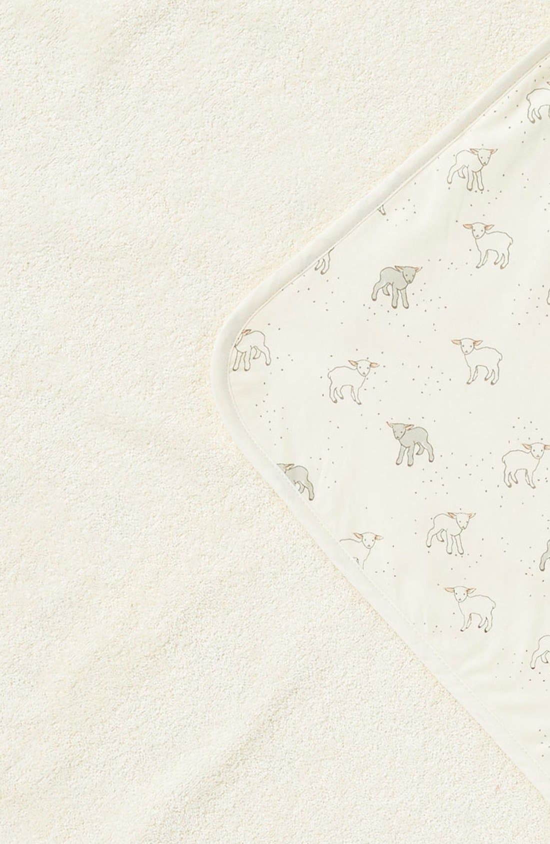 Little Lamb Print Hooded Towel,                             Alternate thumbnail 2, color,                             Cream