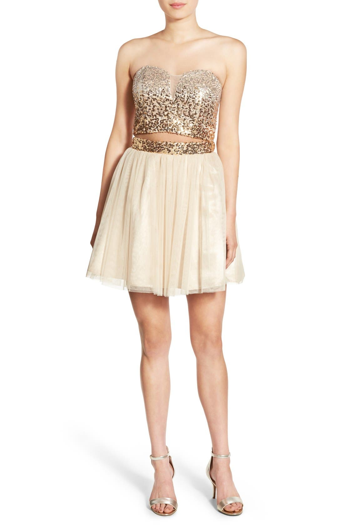Main Image - Steppin Out Embellished Two-Piece Skater Dress