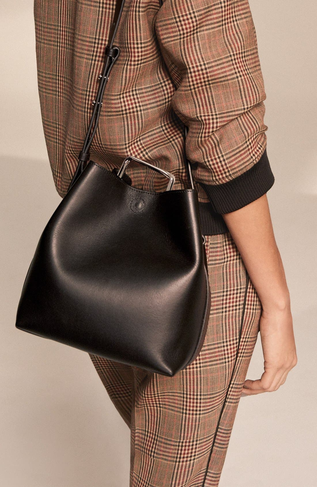 'Mini Quill' Leather Bucket Bag,                             Alternate thumbnail 8, color,