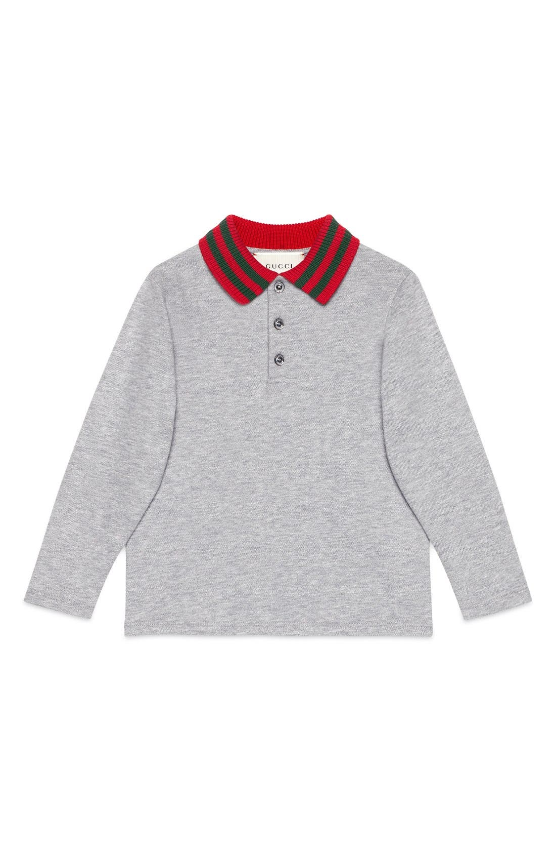 GUCCI Knit Collar Long Sleeve Polo