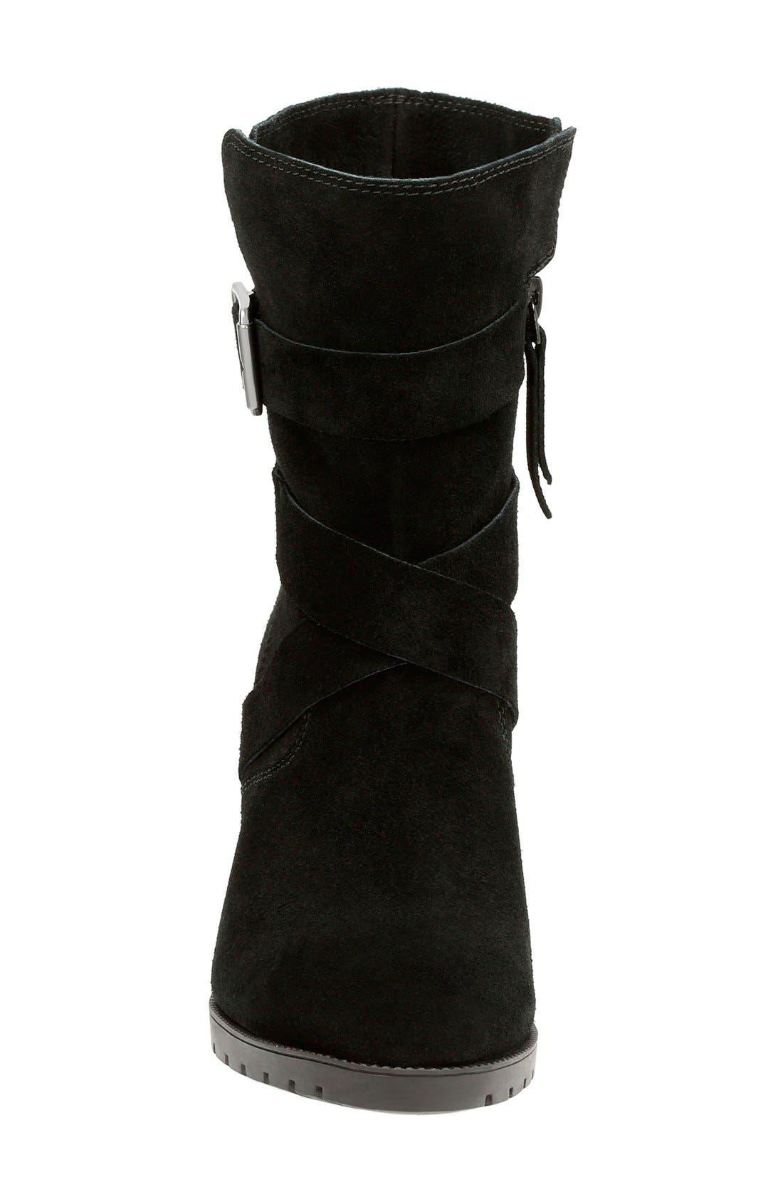 'Malvet Doris' Moto Boot,                             Alternate thumbnail 3, color,                             Black Suede
