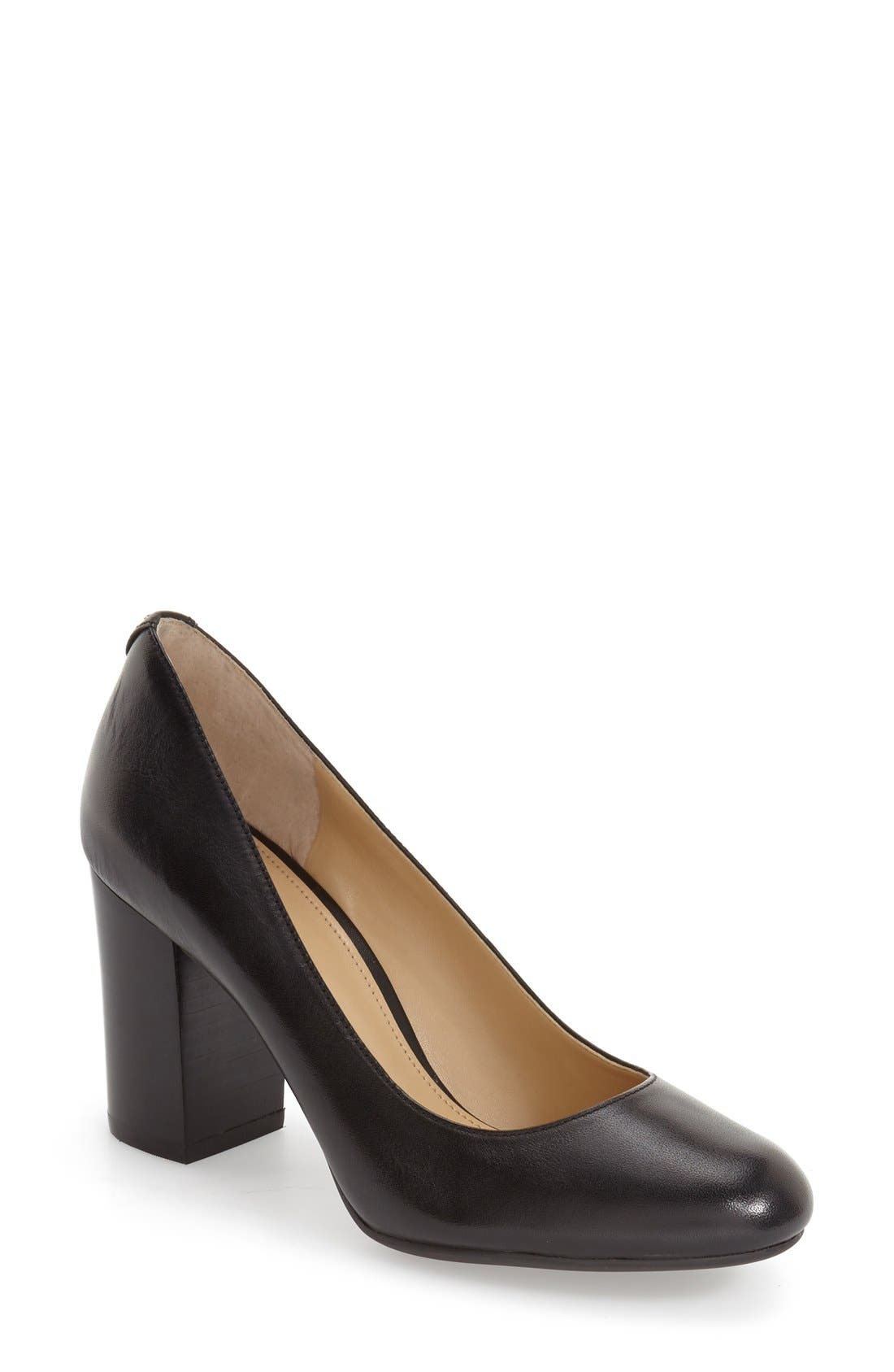 'Lucy - Flex' Round Toe Pump,                         Main,                         color, Black Leather