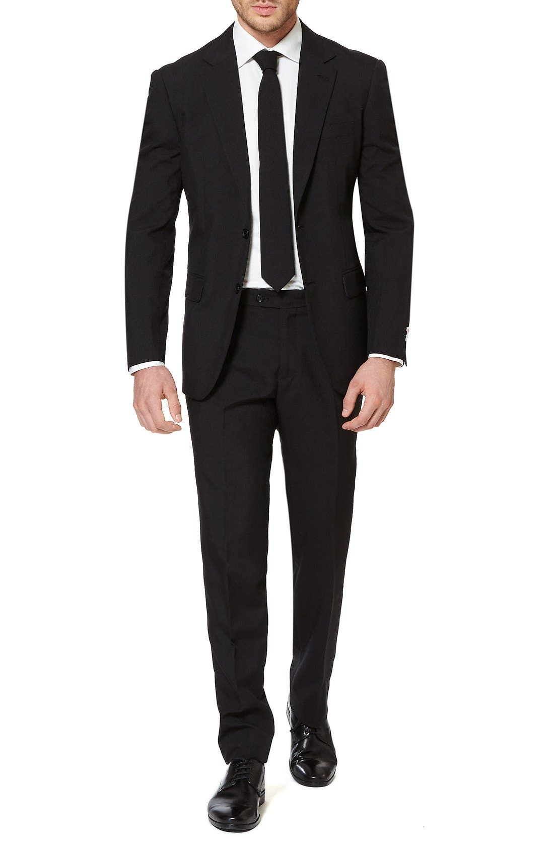 OppoSuits 'Black Knight' Trim Fit Two-Piece Suit with Tie