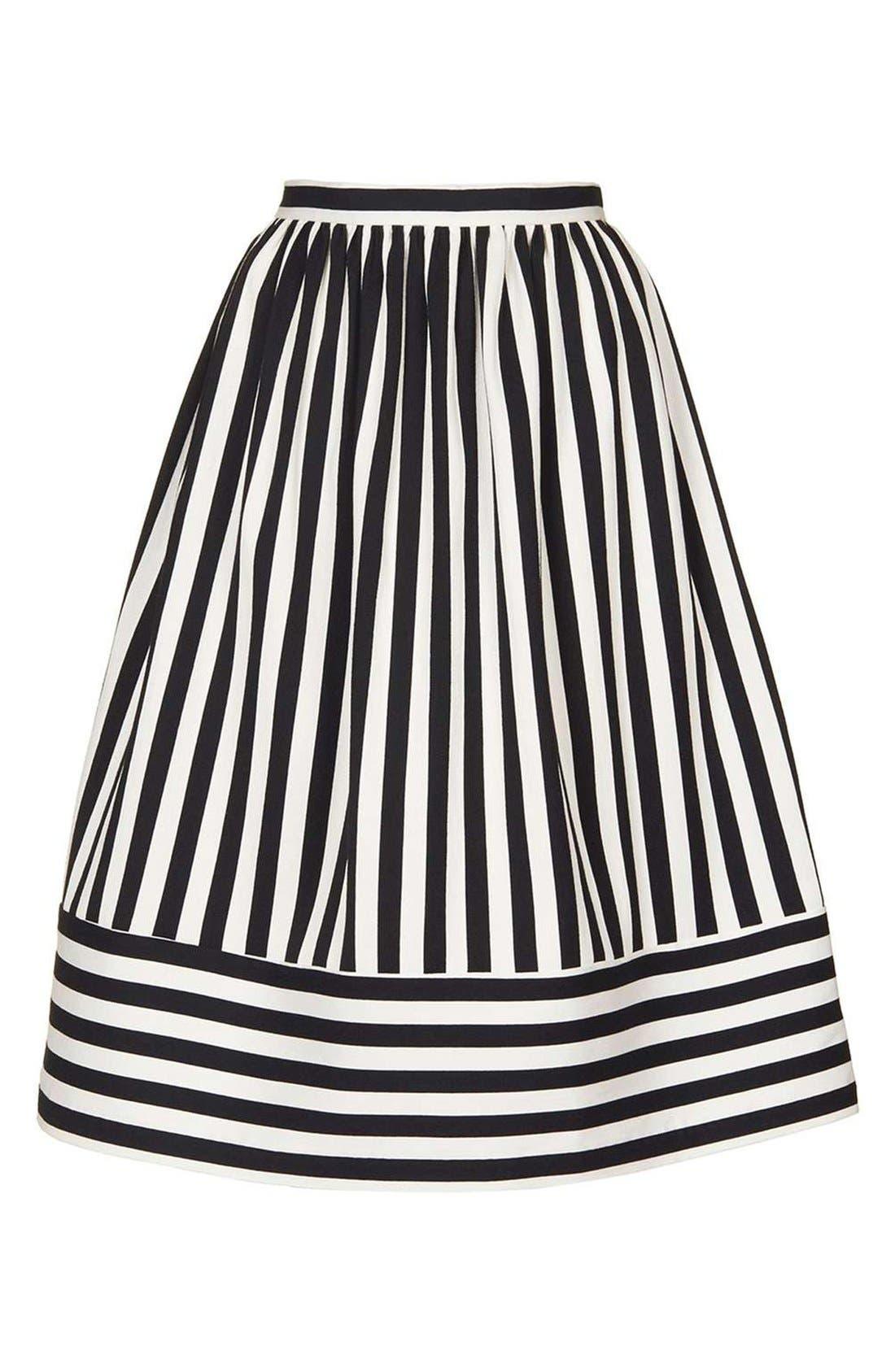 Alternate Image 4  - Topshop Horizontal Hem Stripe A-Line Midi Skirt