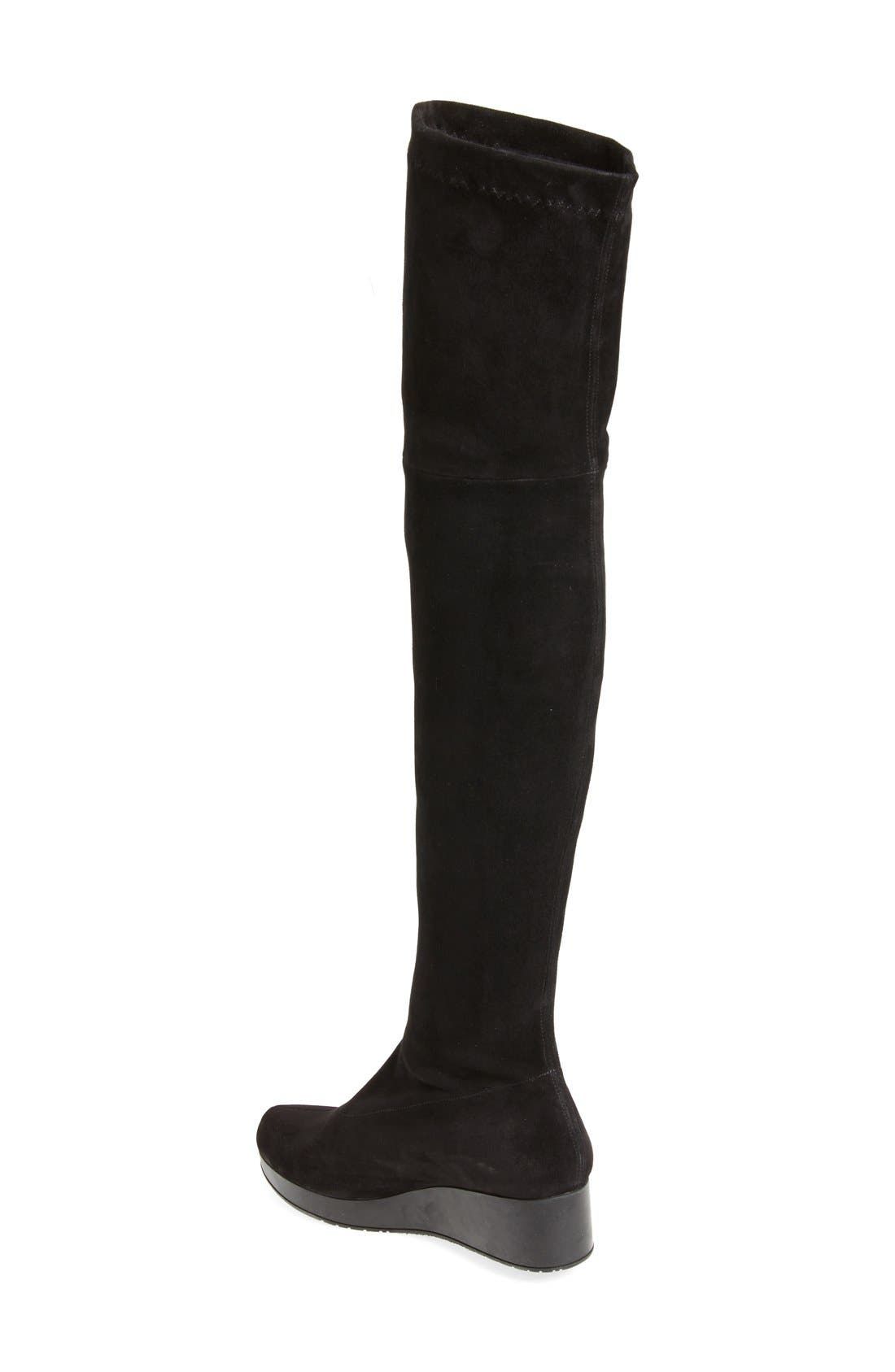 Wedge Over the Knee Boot,                             Alternate thumbnail 2, color,                             Black Suede