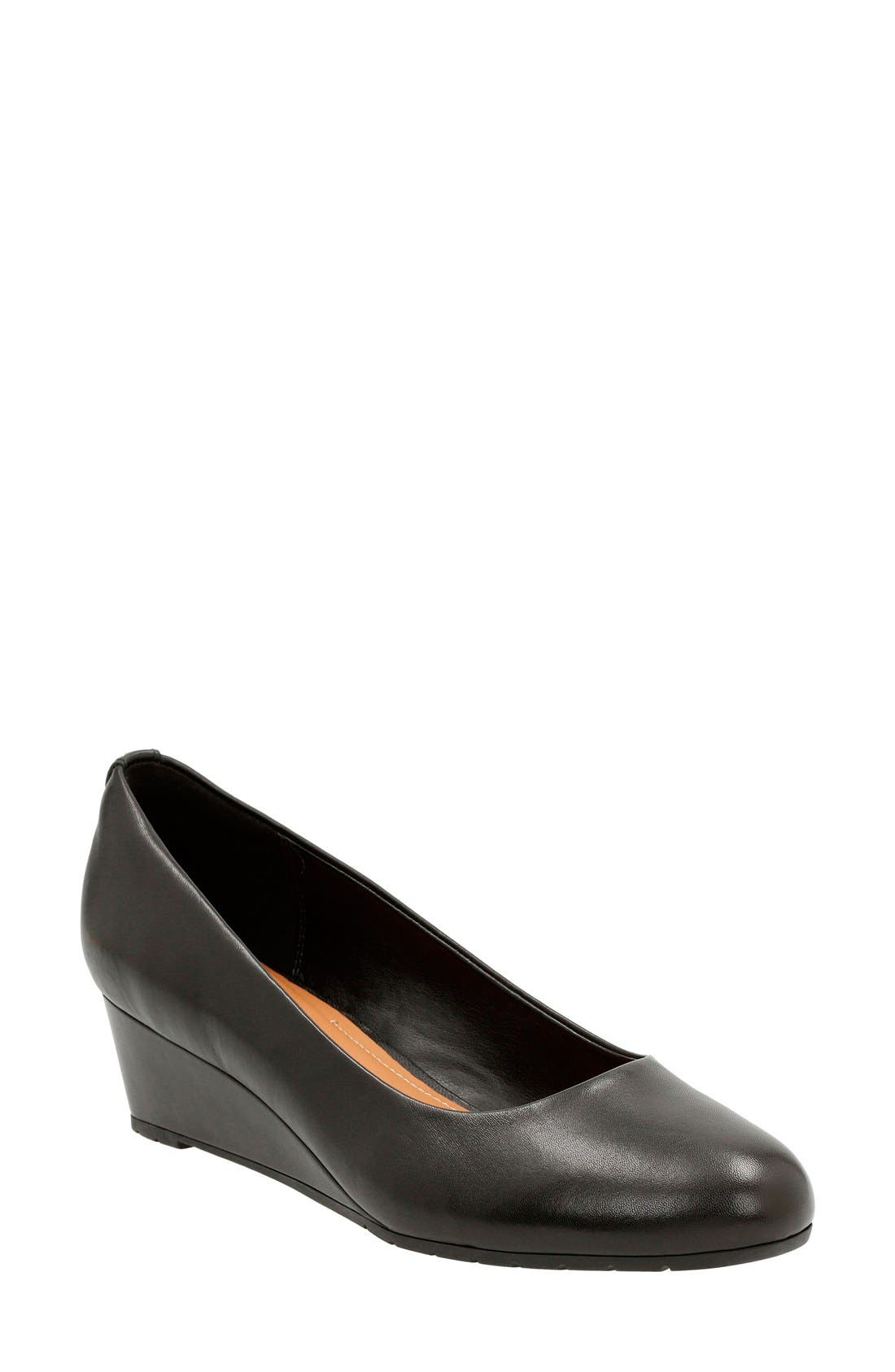 'Vendra Bloom' Wedge Pump,                             Main thumbnail 1, color,                             Black Leather