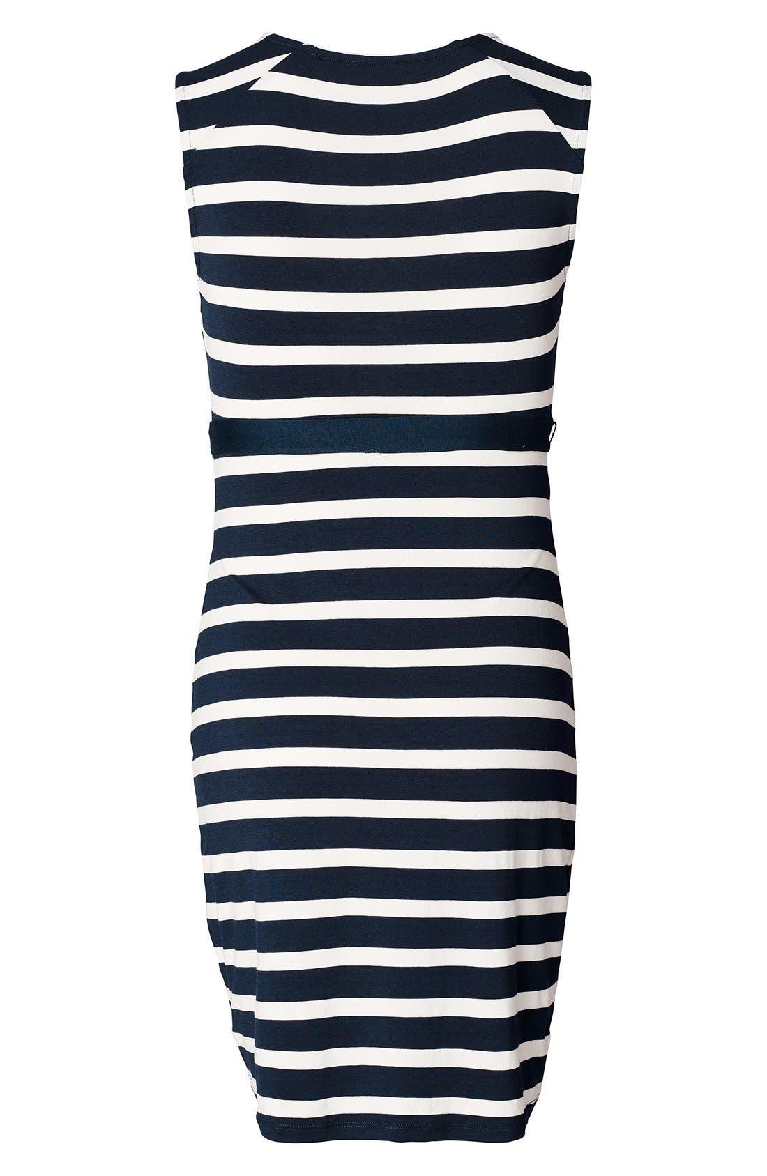 'Lara' Stripe Maternity Dress,                             Alternate thumbnail 3, color,                             Dark Blue