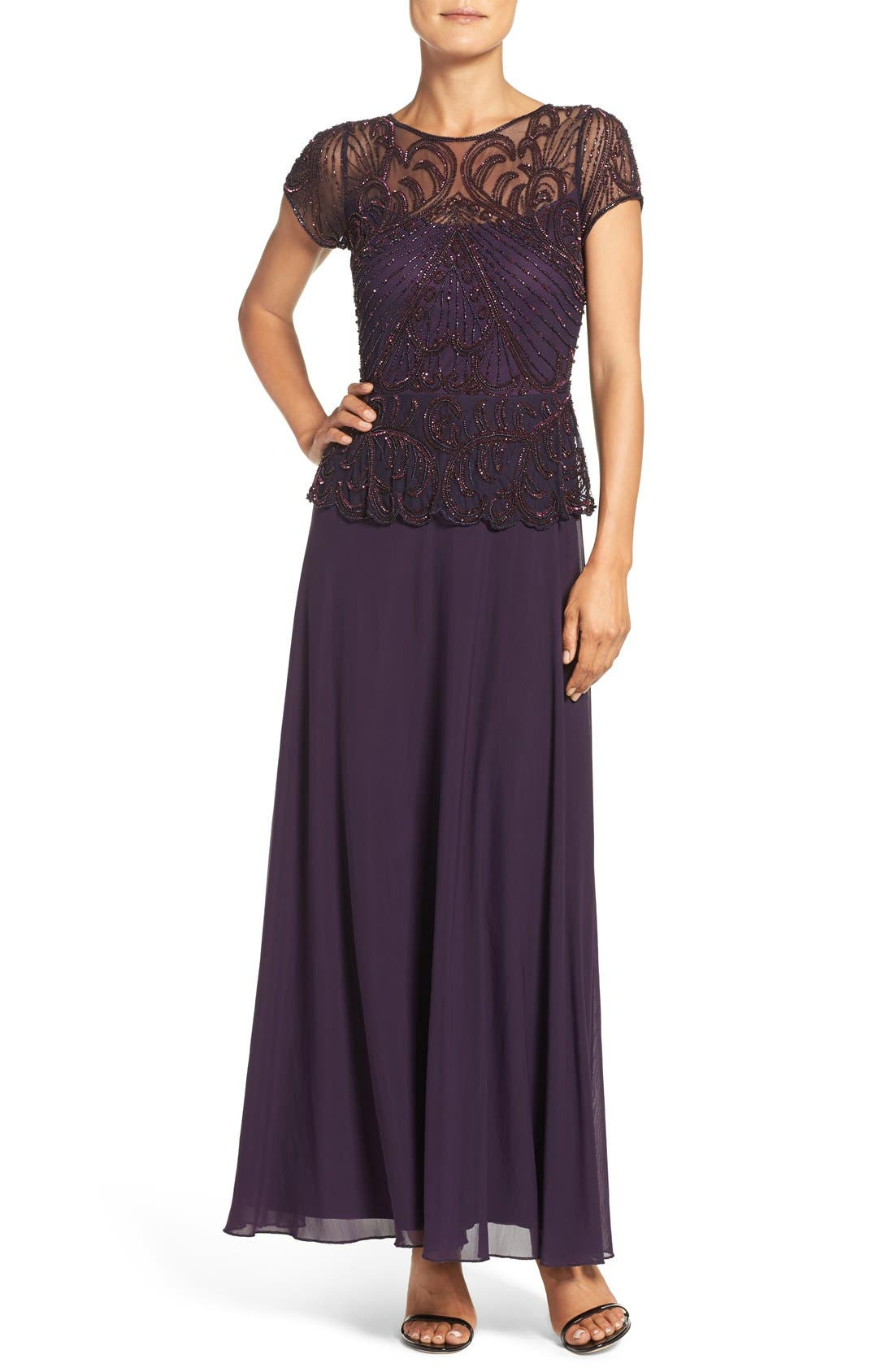 Embellished Mesh Popover Gown,                             Main thumbnail 1, color,                             Plum