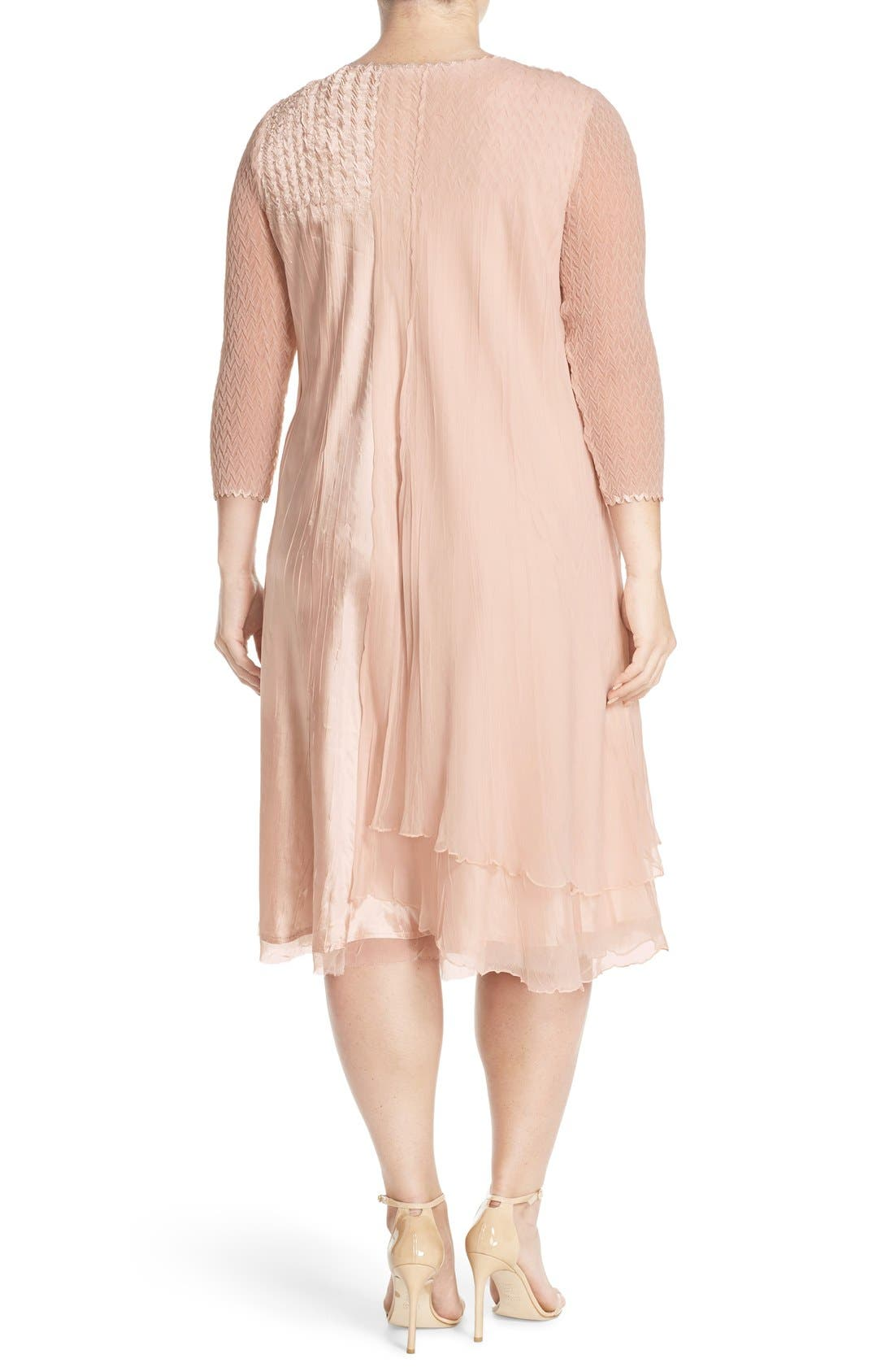 V-Neck Tiered Chiffon & Charmeuse A-Line Dress,                             Alternate thumbnail 2, color,                             Vintage Rose