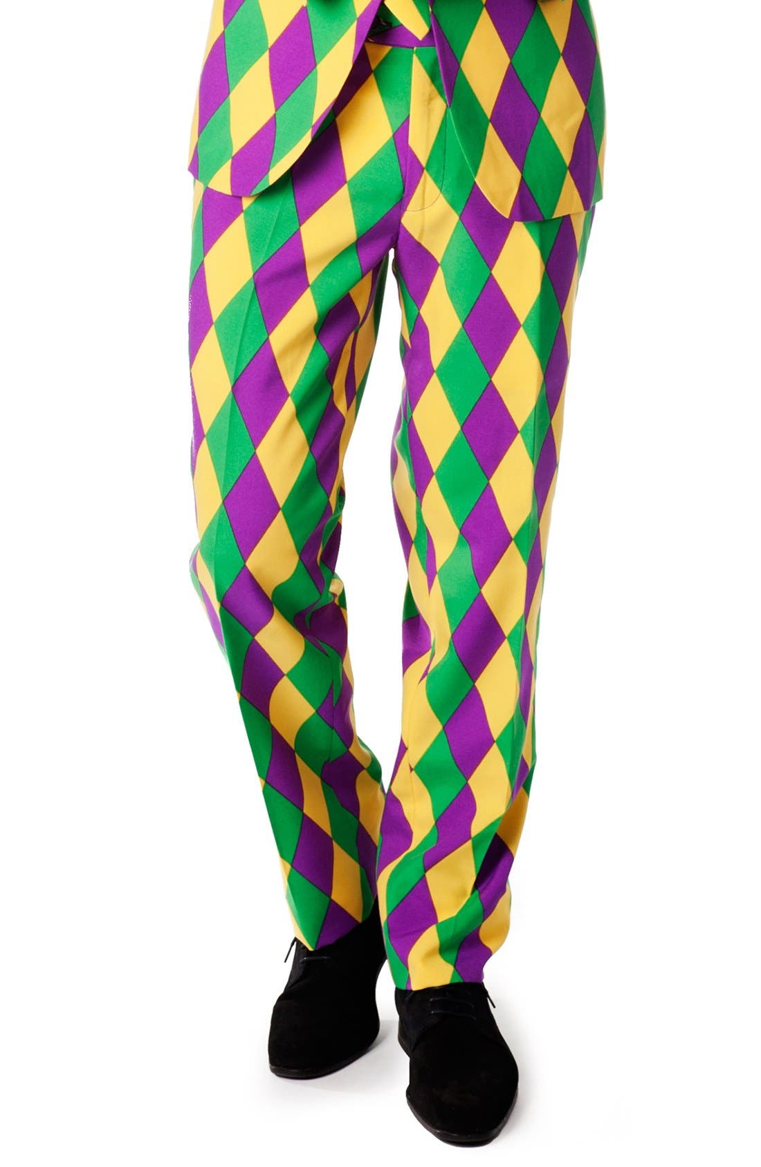 'Harleking' Trim Fit Suit with Tie,                             Alternate thumbnail 5, color,                             Green/ Purple/ Yellow