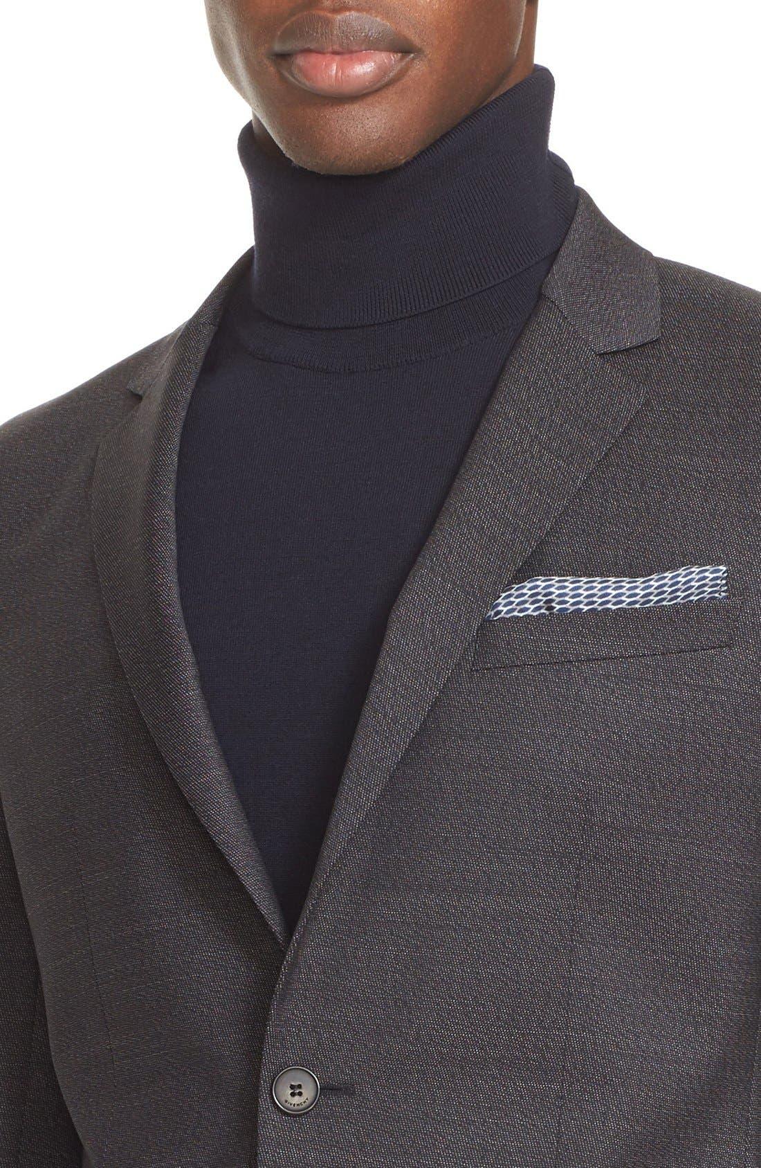 Extra Trim Fit Textured Wool Suit,                             Alternate thumbnail 4, color,                             Black