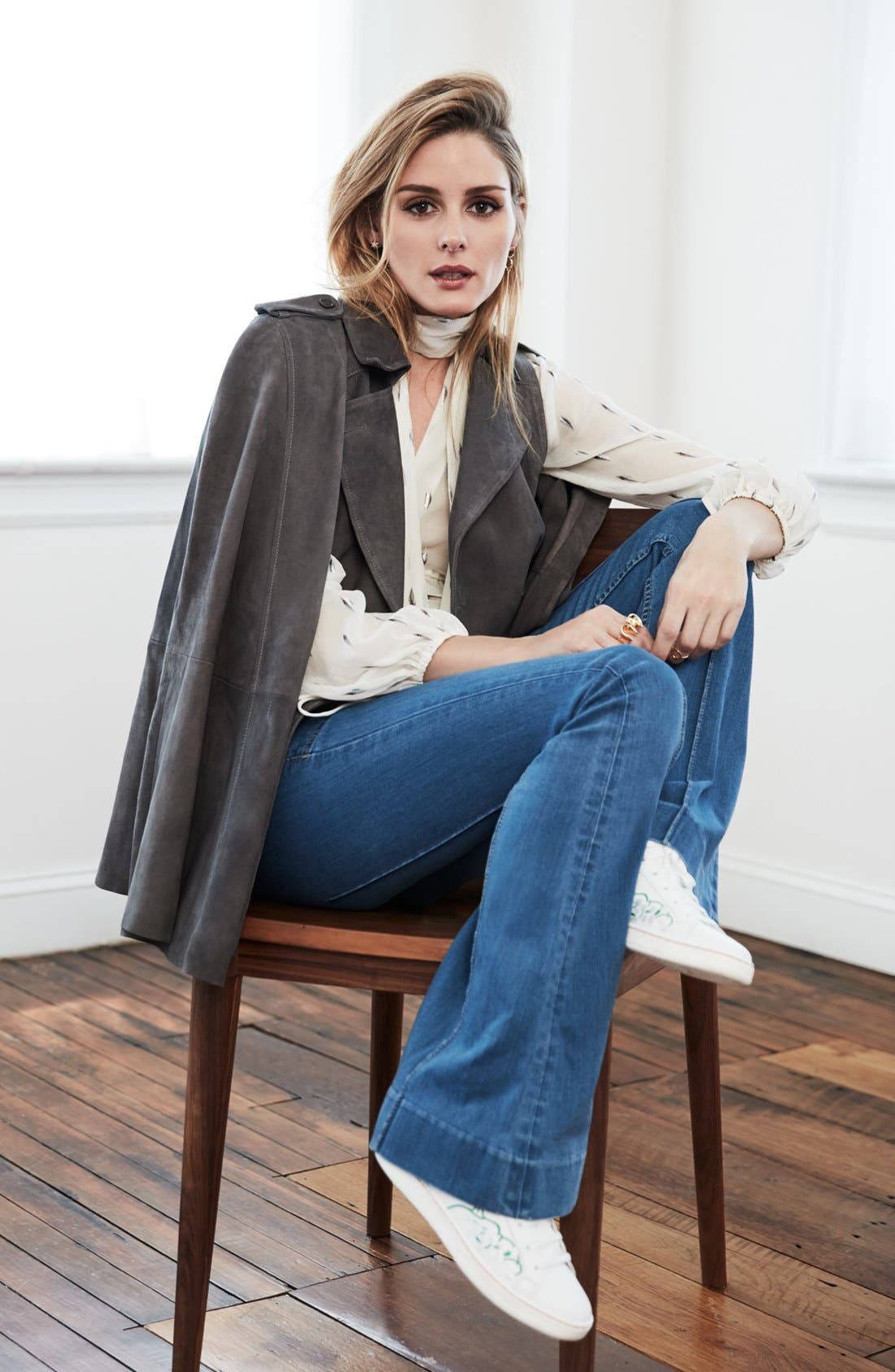 Alternate Image 2  - Olivia Palermo + Chelsea28 Suede Trench Vest with Removable Cape