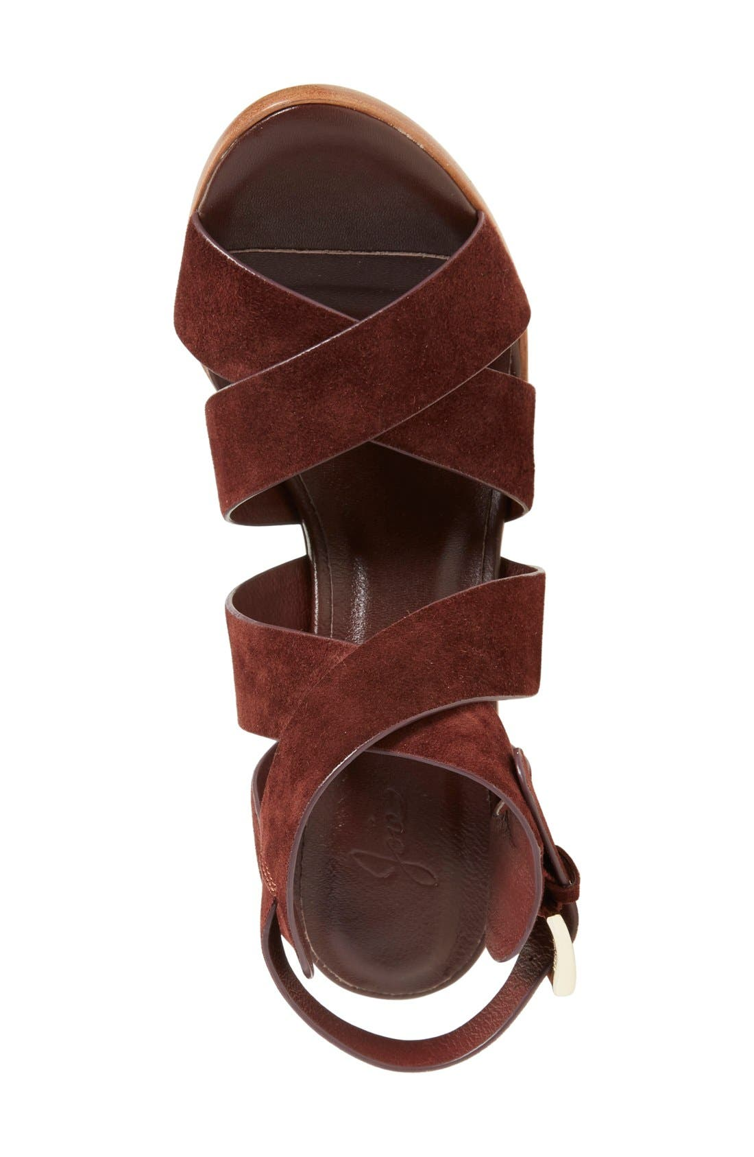 'Avery' Crisscross Block Heel Sandal,                             Alternate thumbnail 3, color,                             Oxblood Suede