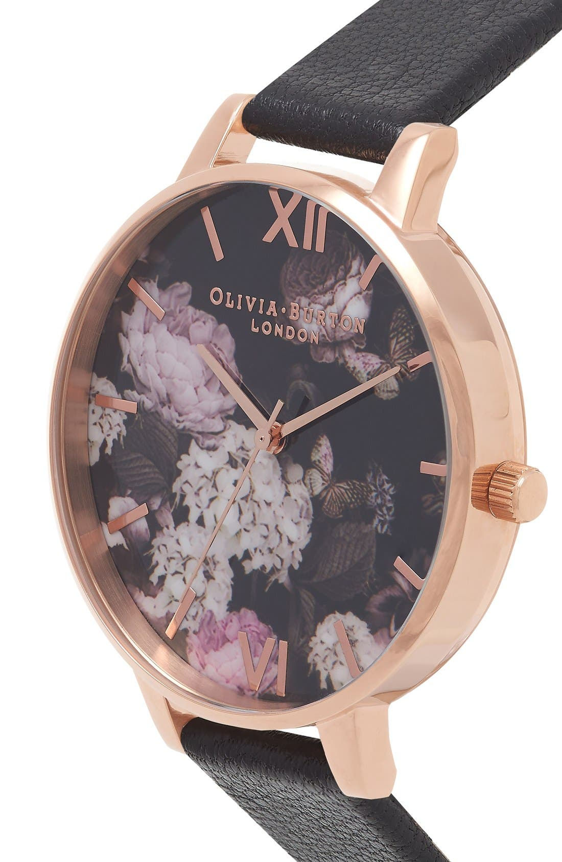 Alternate Image 3  - Olivia Burton Signature Florals Leather Strap Watch, 38mm