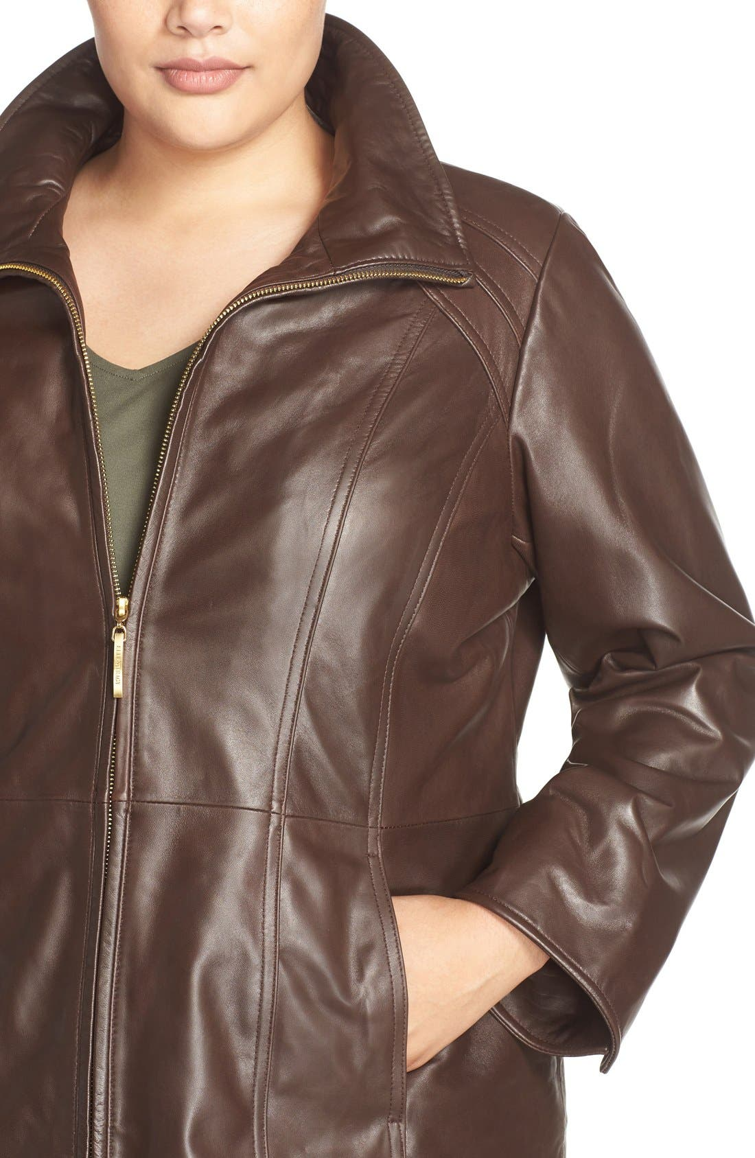 Alternate Image 4  - Ellen Tracy Leather Walking Coat (Plus Size)