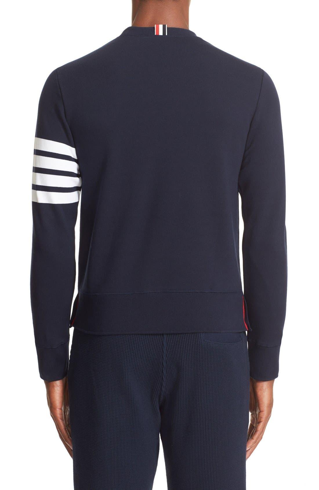 Stripe Sleeve Sweatshirt,                             Alternate thumbnail 2, color,                             Navy/ Optic White