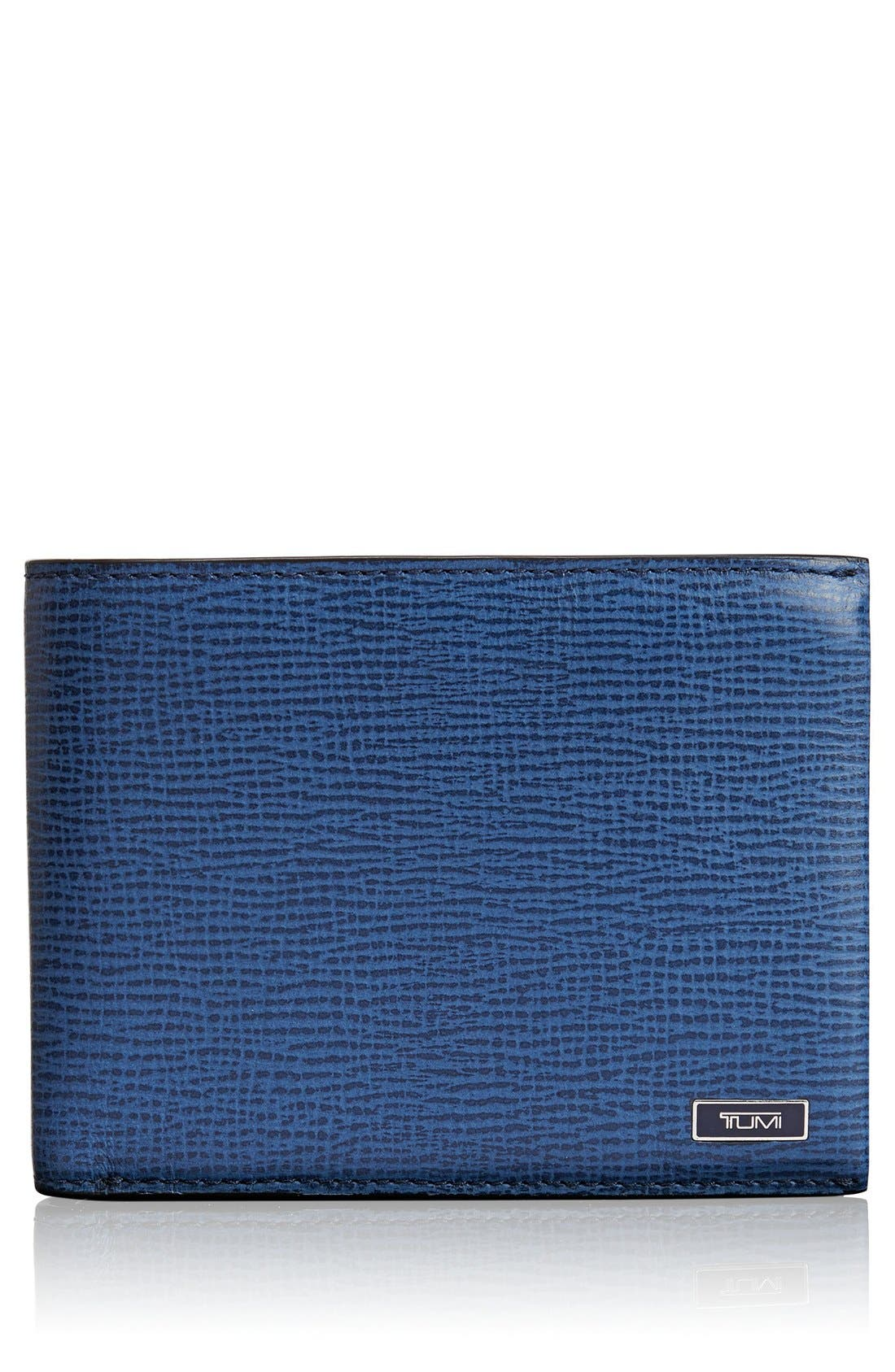Monaco Global Leather Wallet with Coin Pocket,                             Main thumbnail 1, color,                             Cobalt