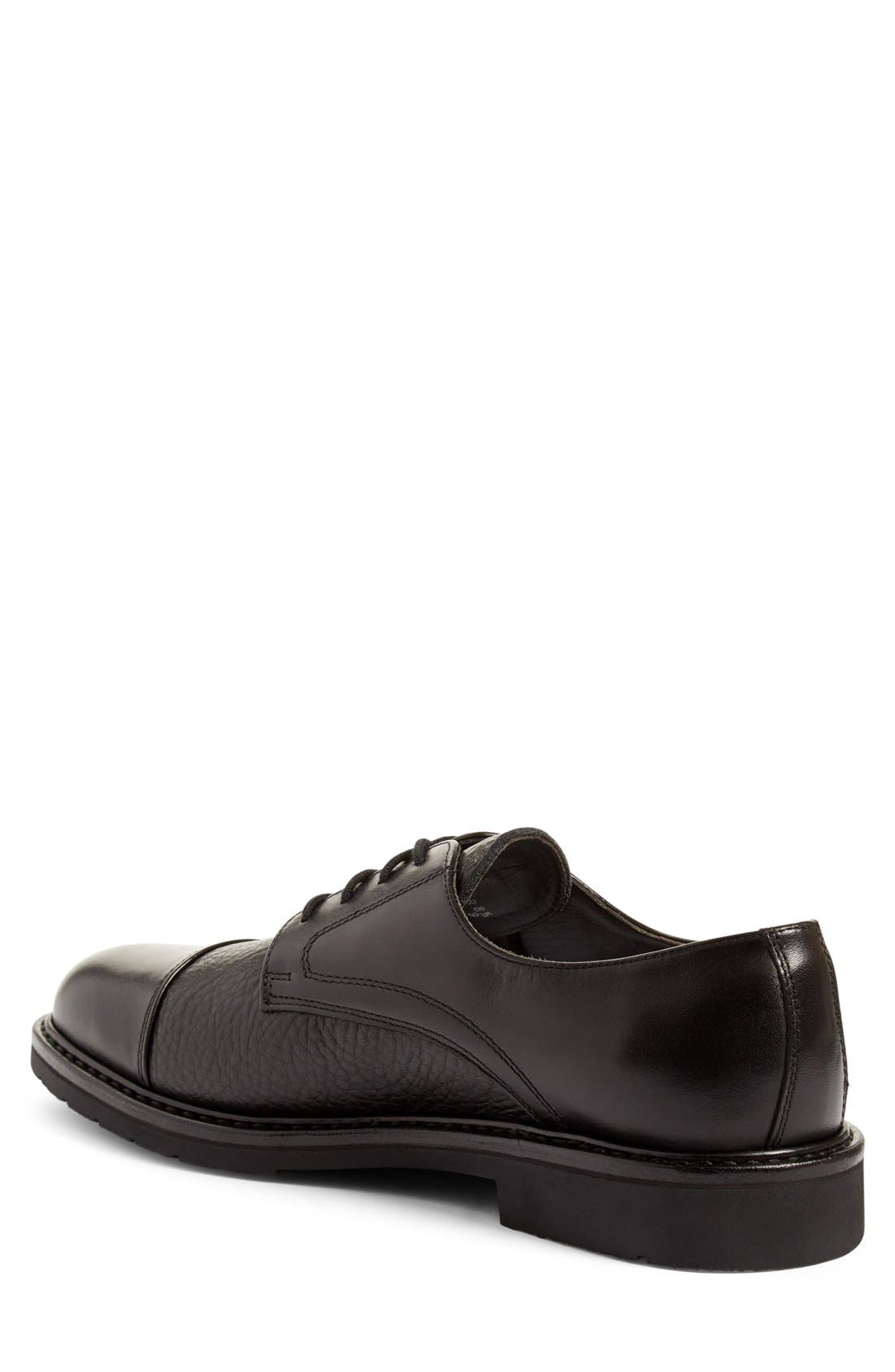 'Melchior' Cap Toe Derby,                             Alternate thumbnail 2, color,                             Black Leather