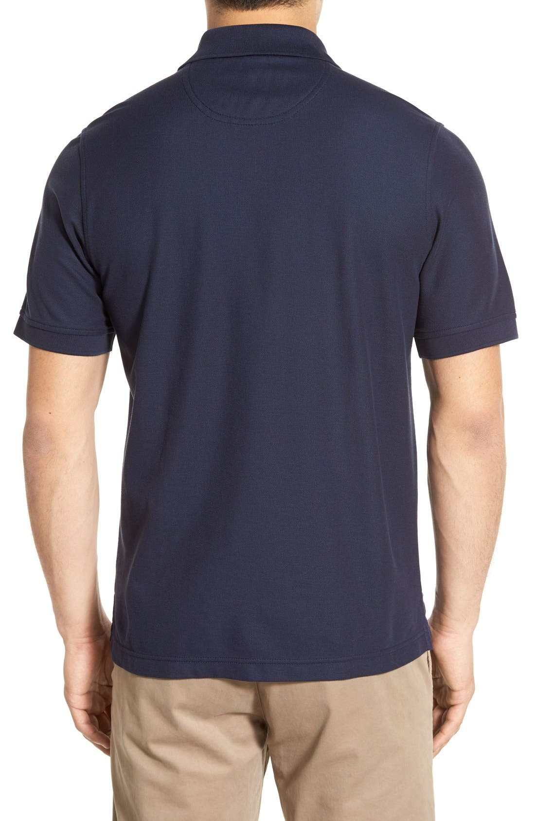Classic Regular Fit Piqué Polo,                             Alternate thumbnail 2, color,                             Navy