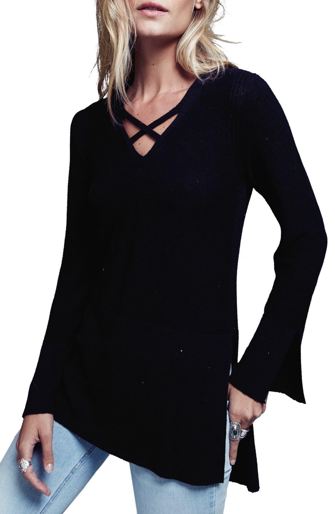 Crisscross Sweater,                         Main,                         color, Black