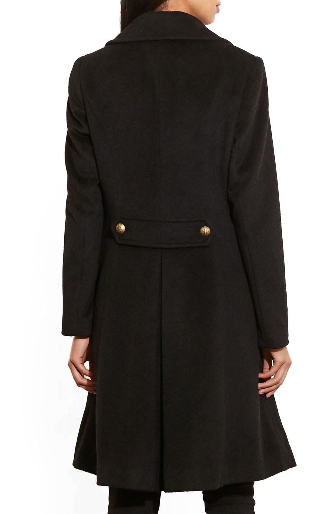Alternate Image 2  - Lauren Ralph Lauren Skirted Wool Blend Military Coat
