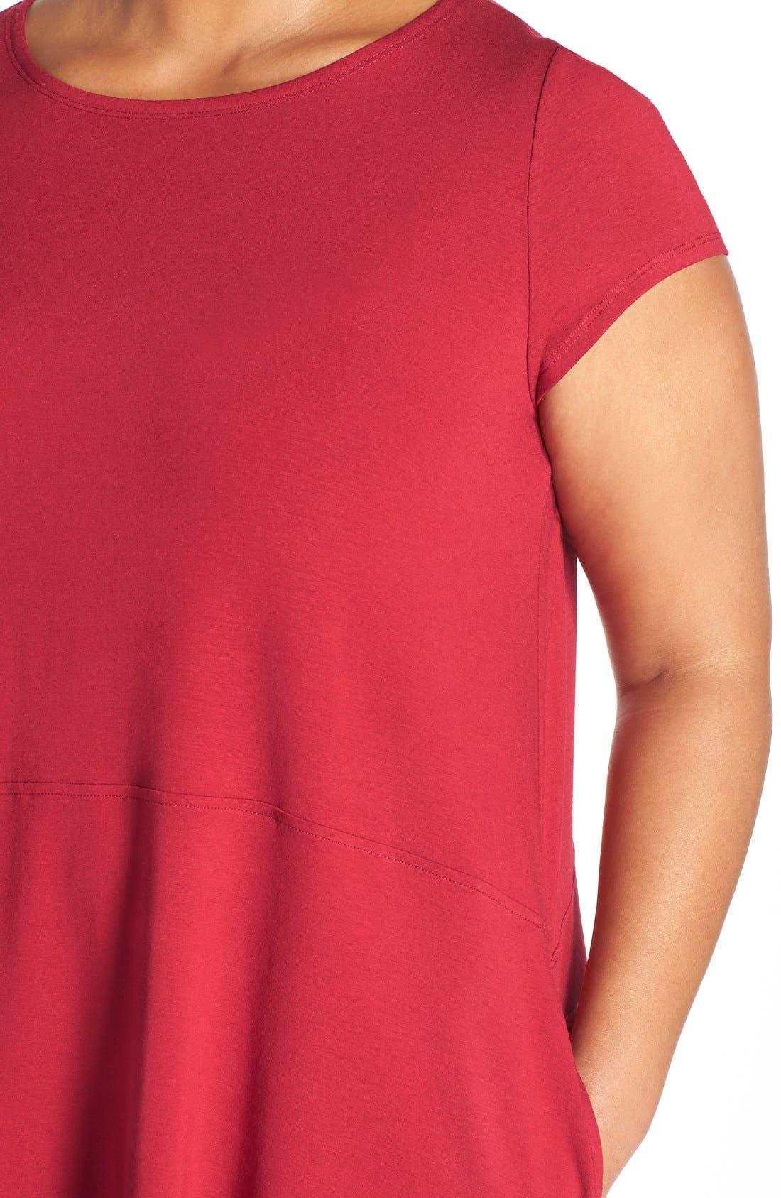 Alternate Image 5  - Eileen Fisher Bateau Neck Cap Sleeve Dress (Plus Size)