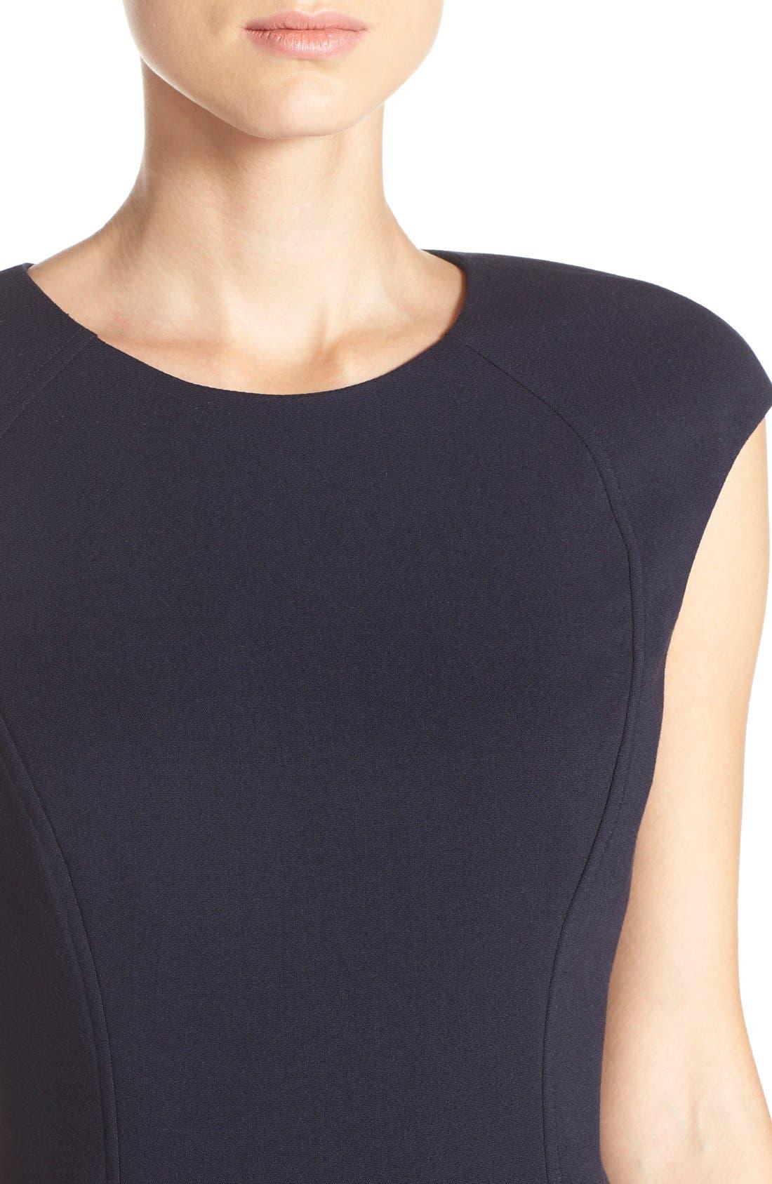 Cap Sleeve Crepe Sheath Dress,                             Alternate thumbnail 4, color,                             Navy