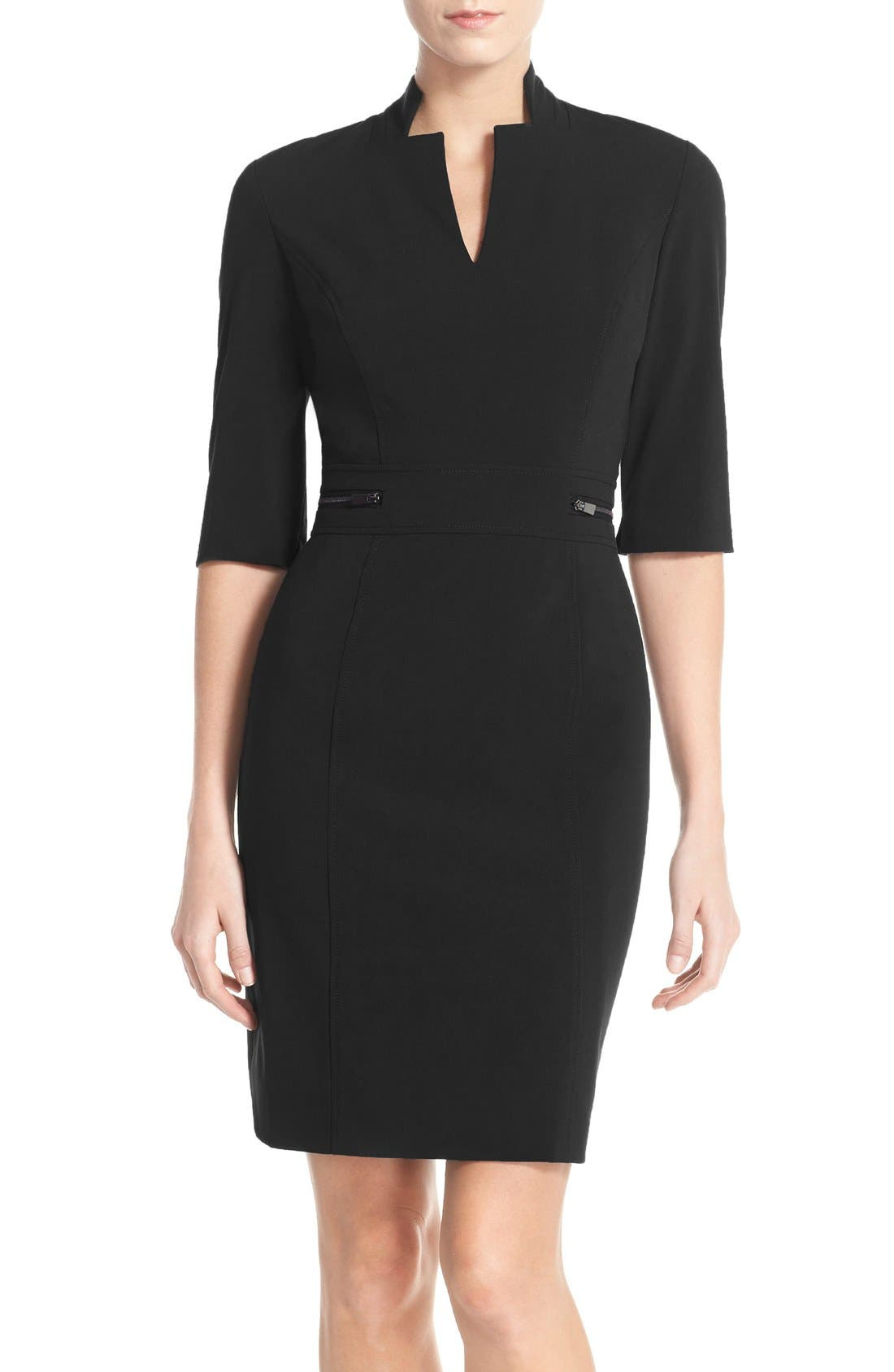 Bi-Stretch Sheath Dress,                             Main thumbnail 1, color,                             New Black