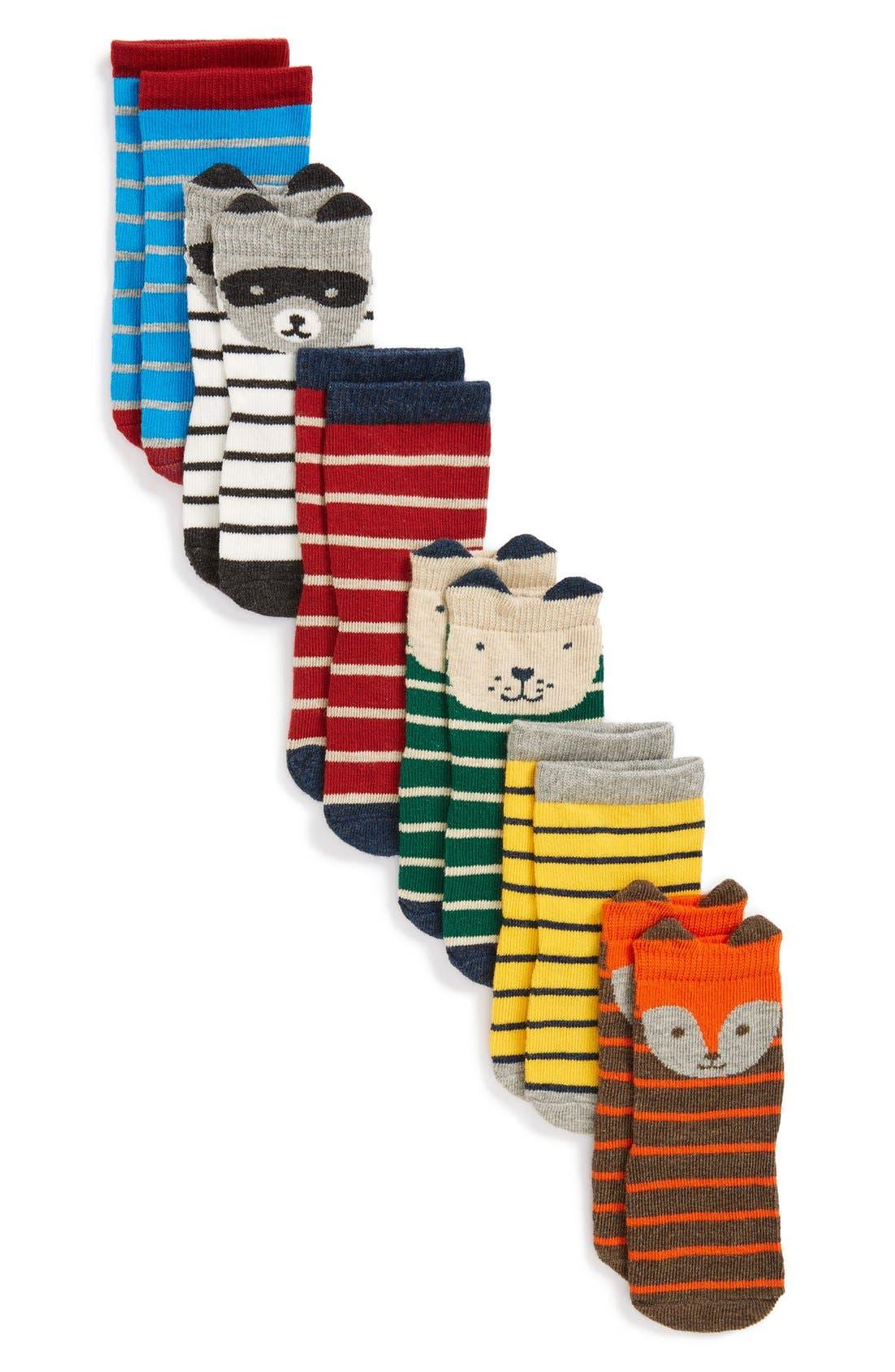 Print 6-Pack Crew Socks,                         Main,                         color, Boy Pack